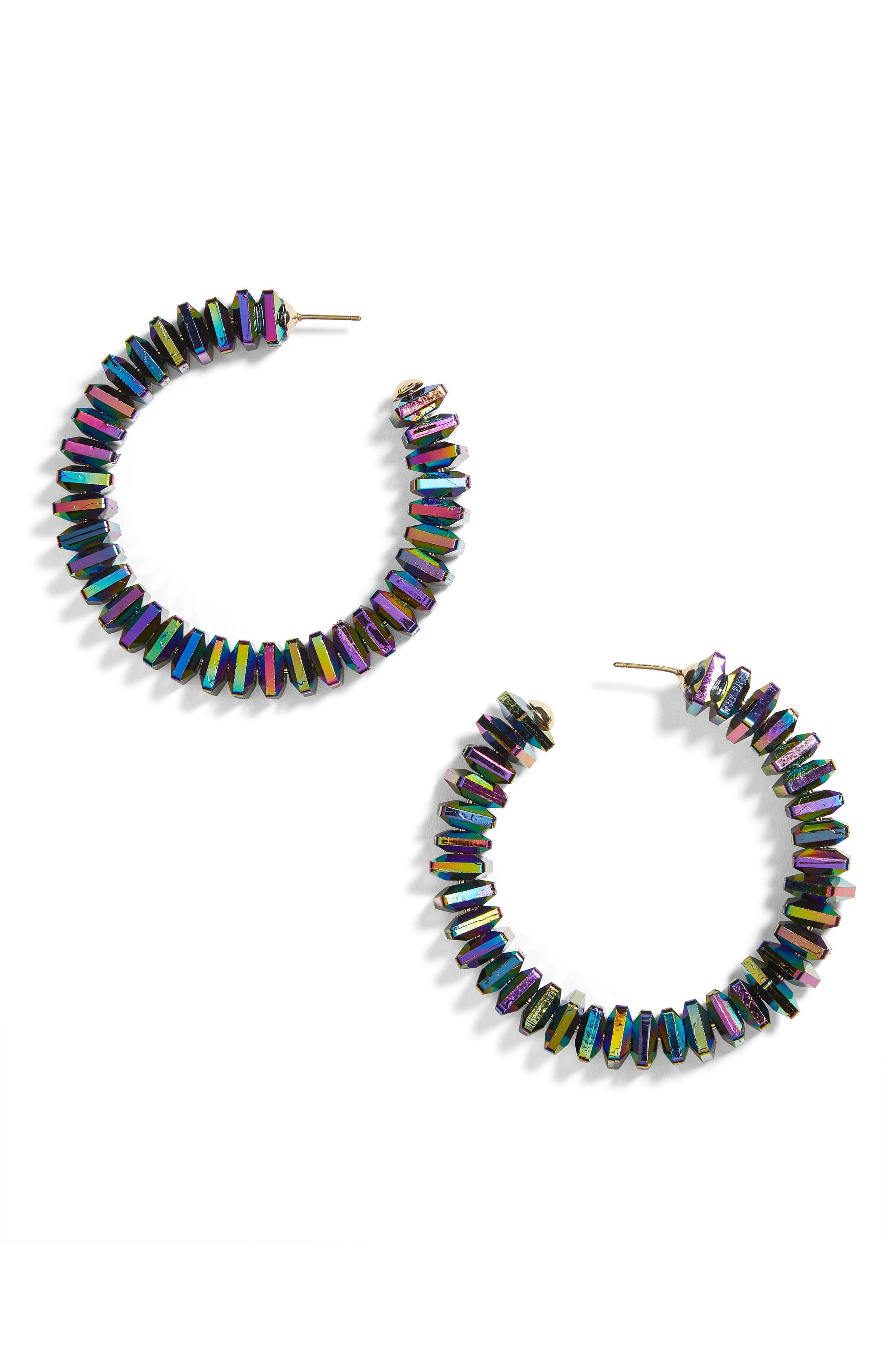 Clarisse Hoop Earrings,                         Main,                         color, Navy