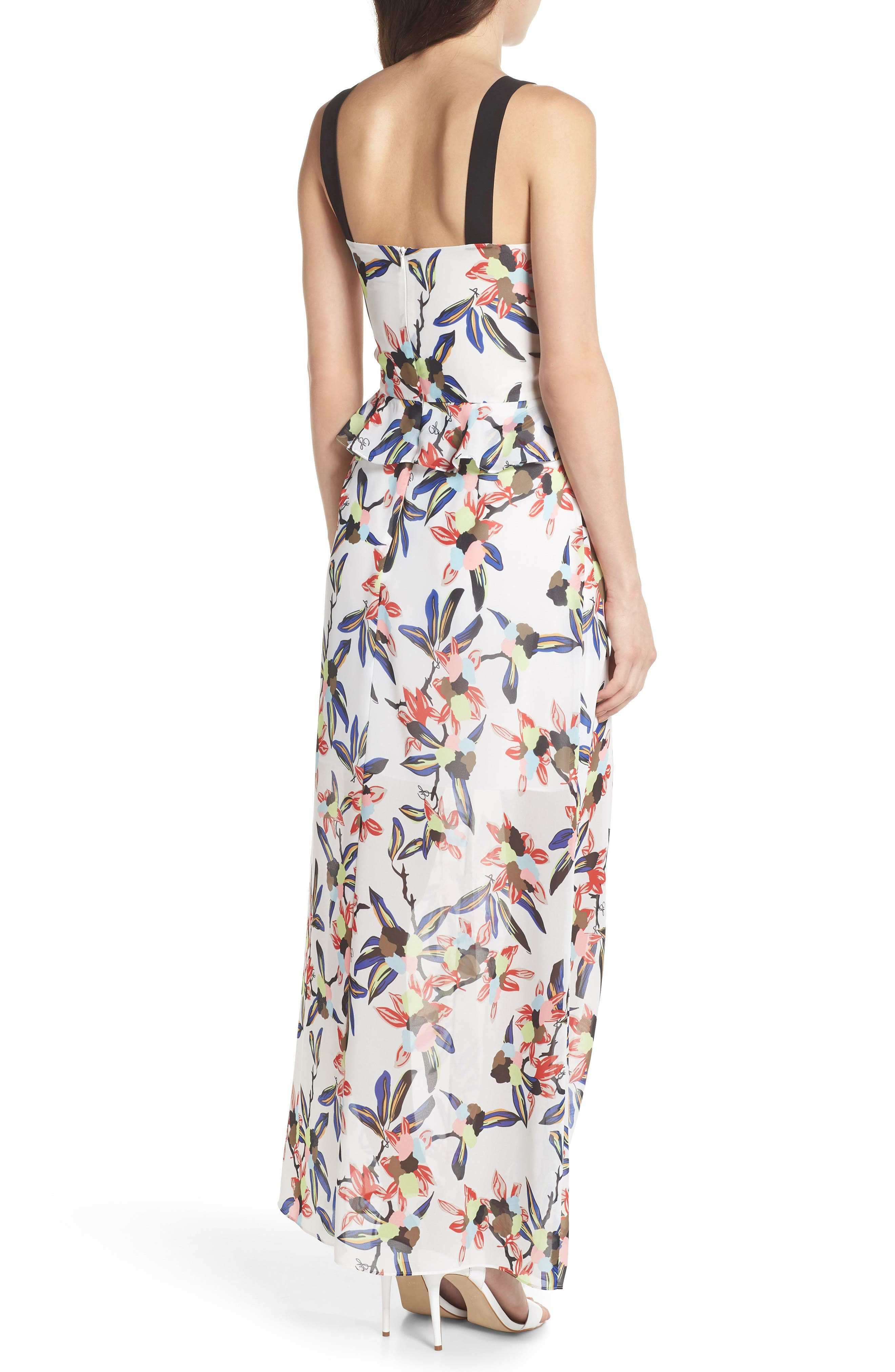 Floral Print Maxi Dress,                             Alternate thumbnail 2, color,                             White Multi