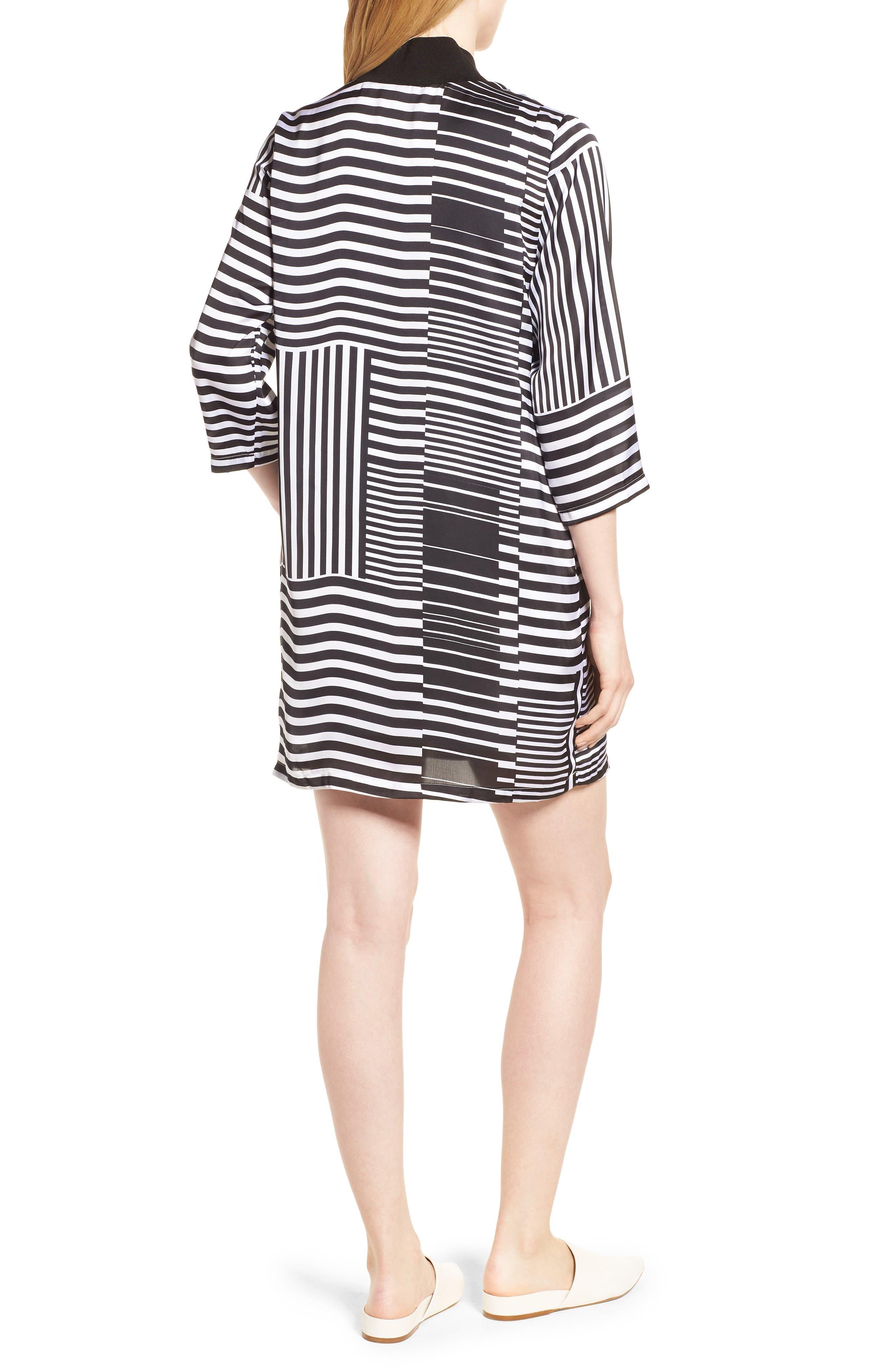 Mix Stripe V-Neck Shift Dress,                             Alternate thumbnail 2, color,                             Pop Red