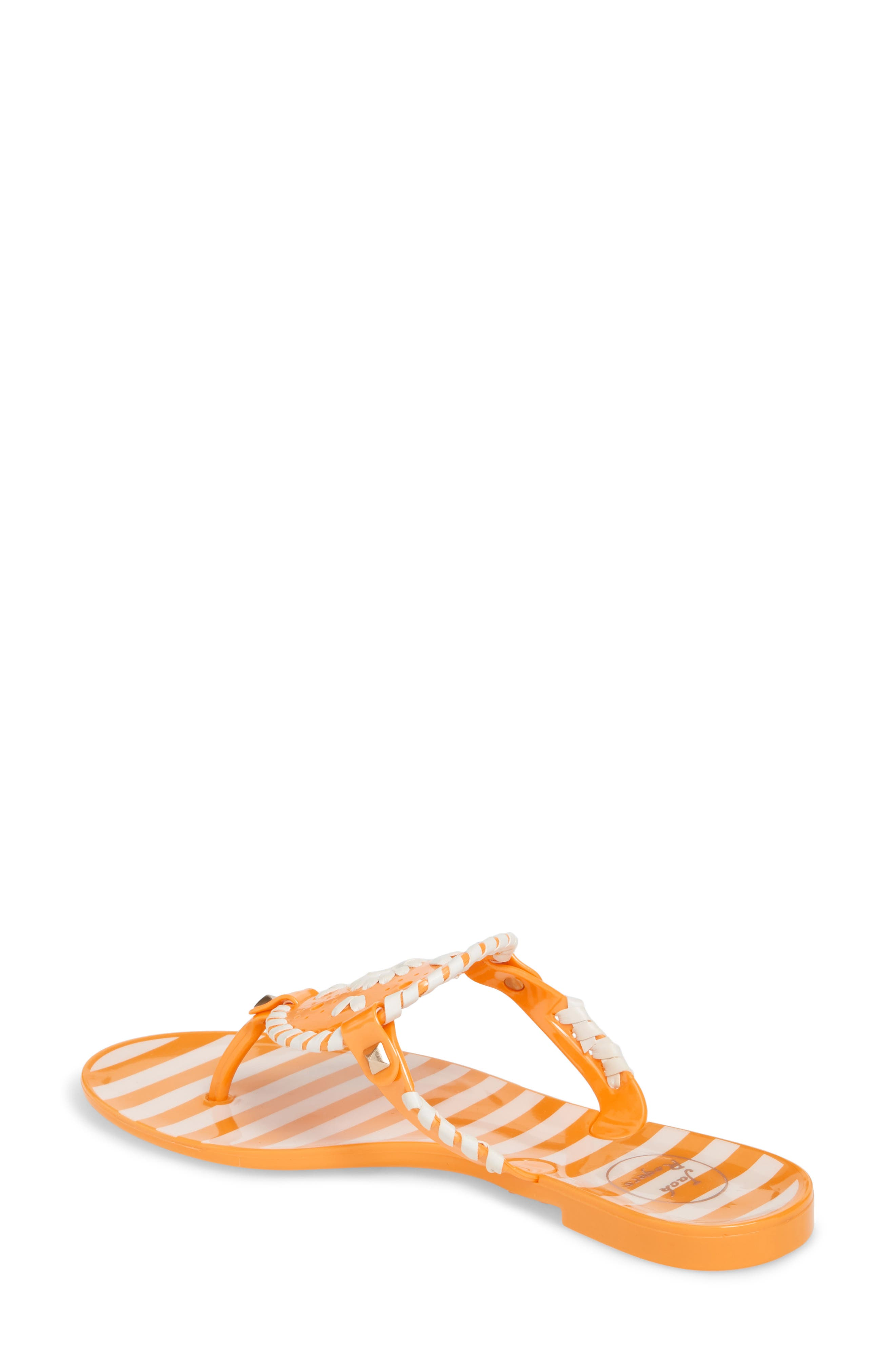 'Georgica' Jelly Flip Flop,                             Alternate thumbnail 2, color,                             Tangerine/ White Fabric
