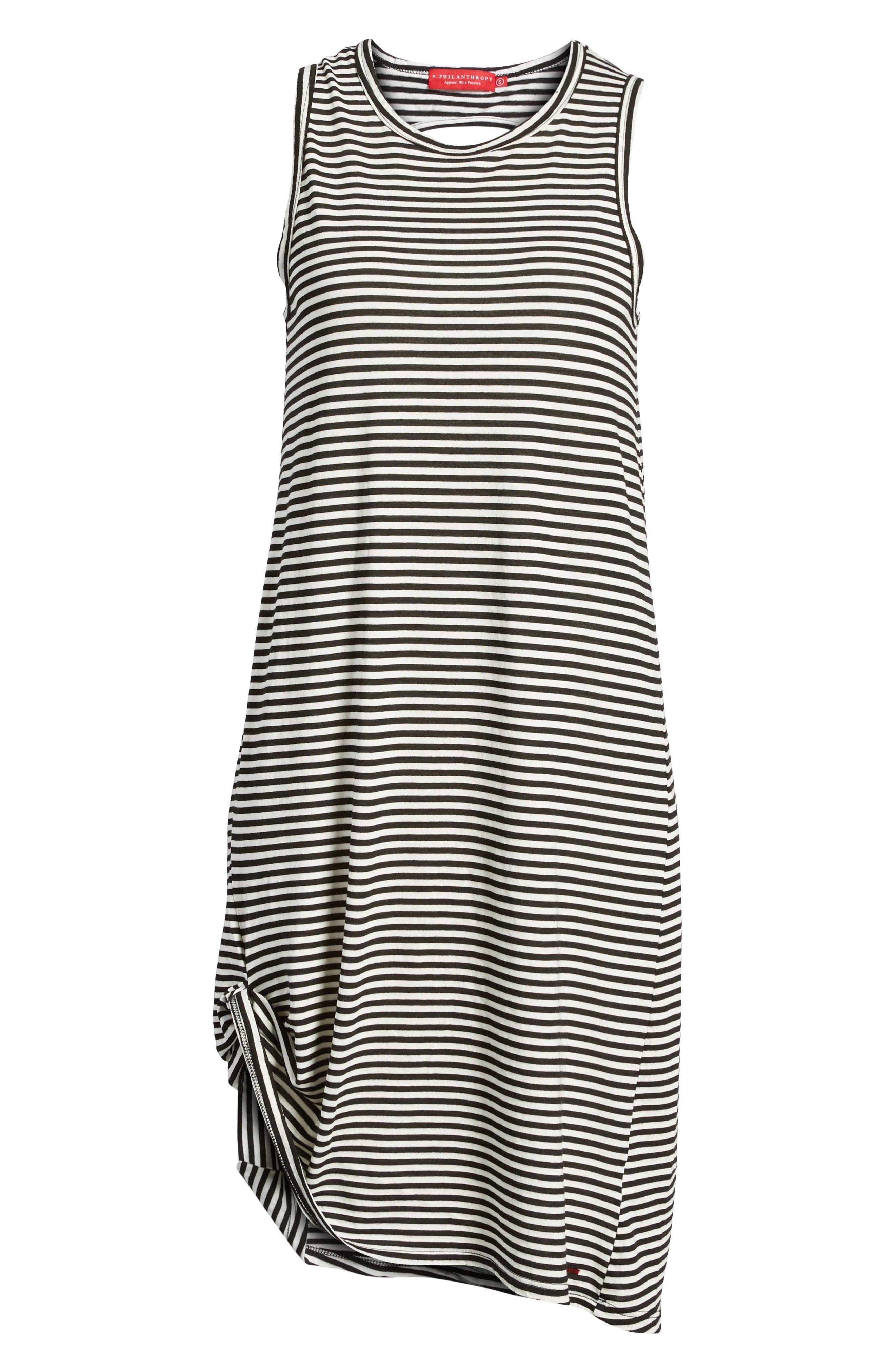 Boo Stripe High/Low Dress,                             Alternate thumbnail 7, color,                             Black Cat/ White Stripe
