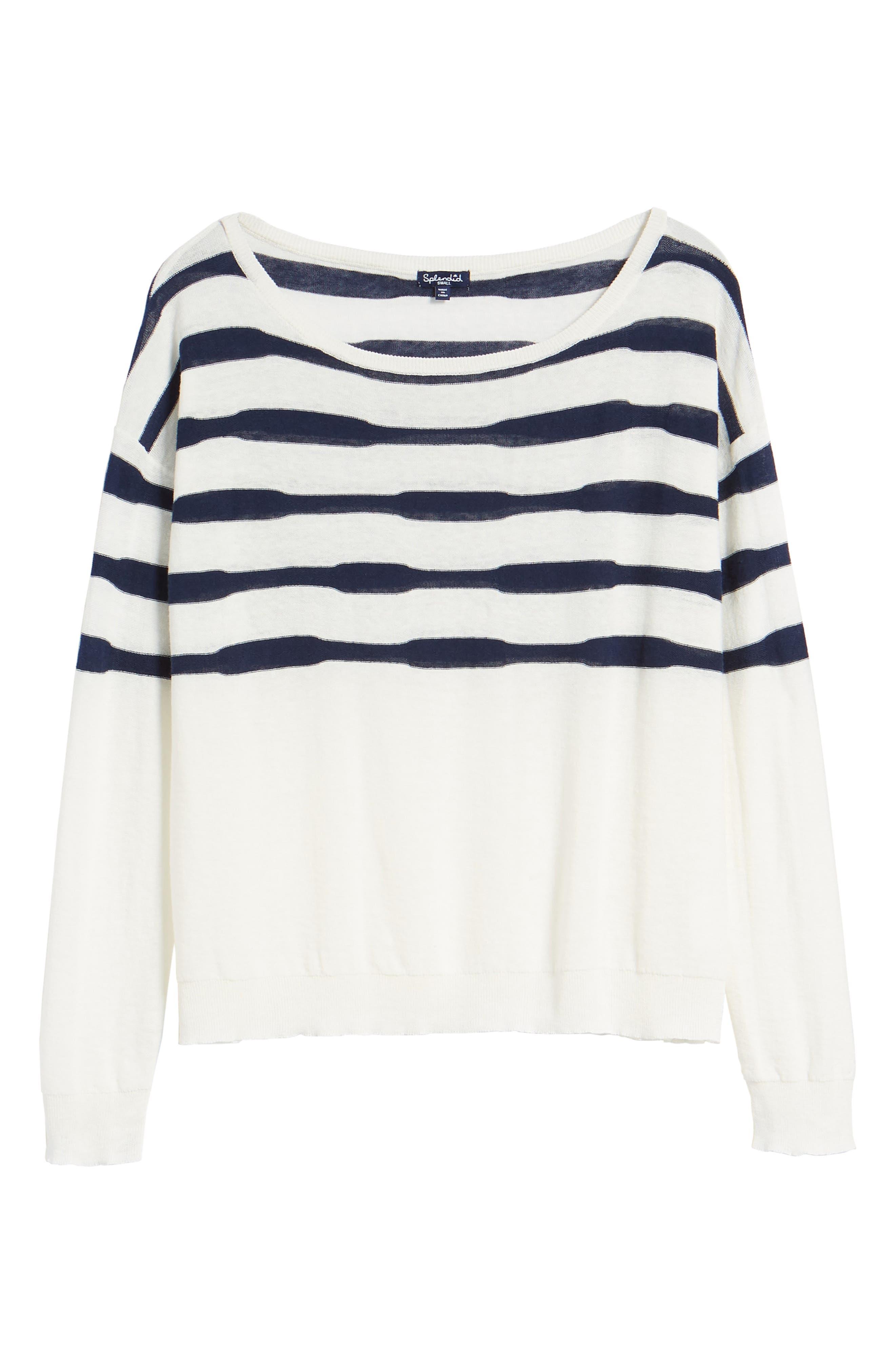 Stripe Linen & Cotton Sweater,                             Alternate thumbnail 6, color,                             Natural/ Navy