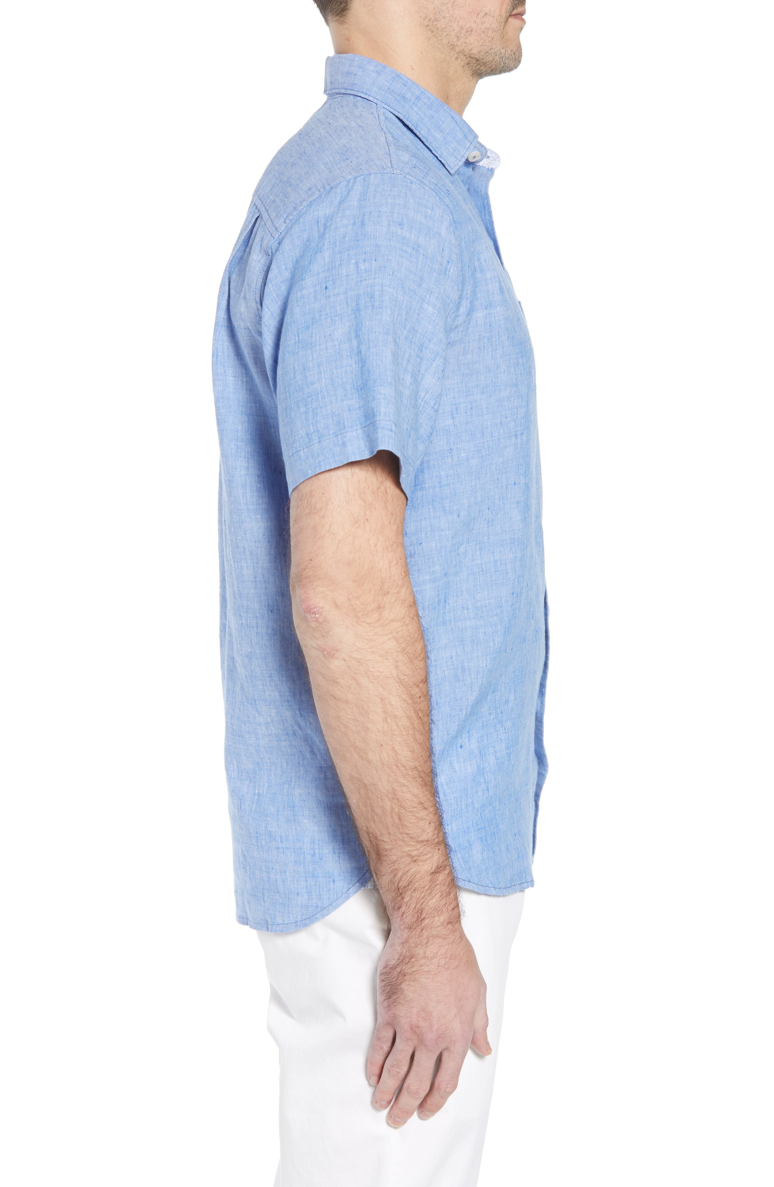 Lanai Tides Linen Blend Sport Shirt,                             Alternate thumbnail 3, color,                             Cobalt Sea