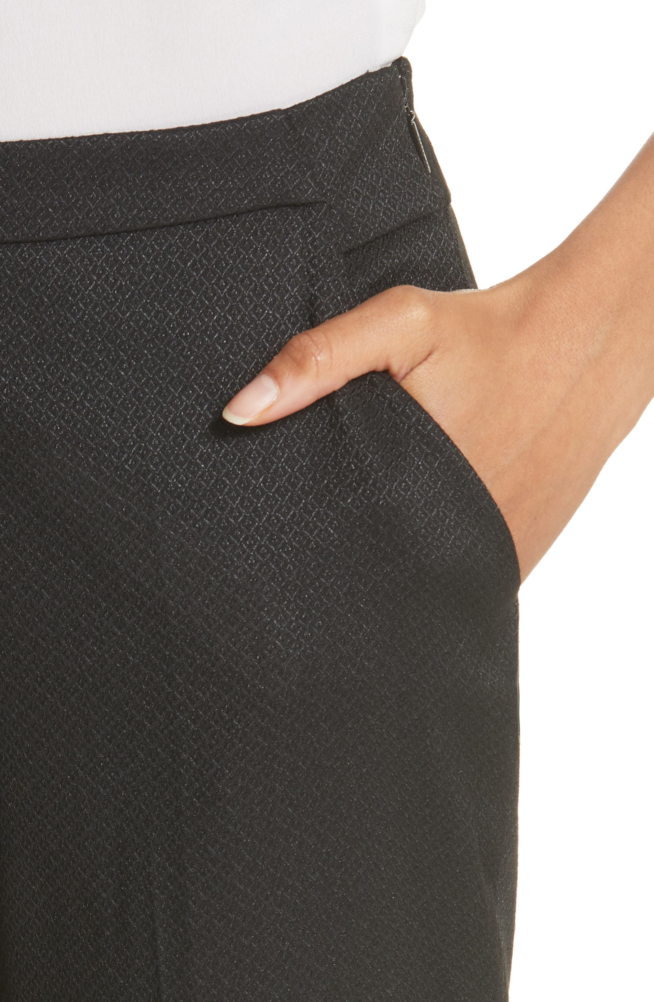 Textured Tailored Crop Pants,                             Alternate thumbnail 4, color,                             Black