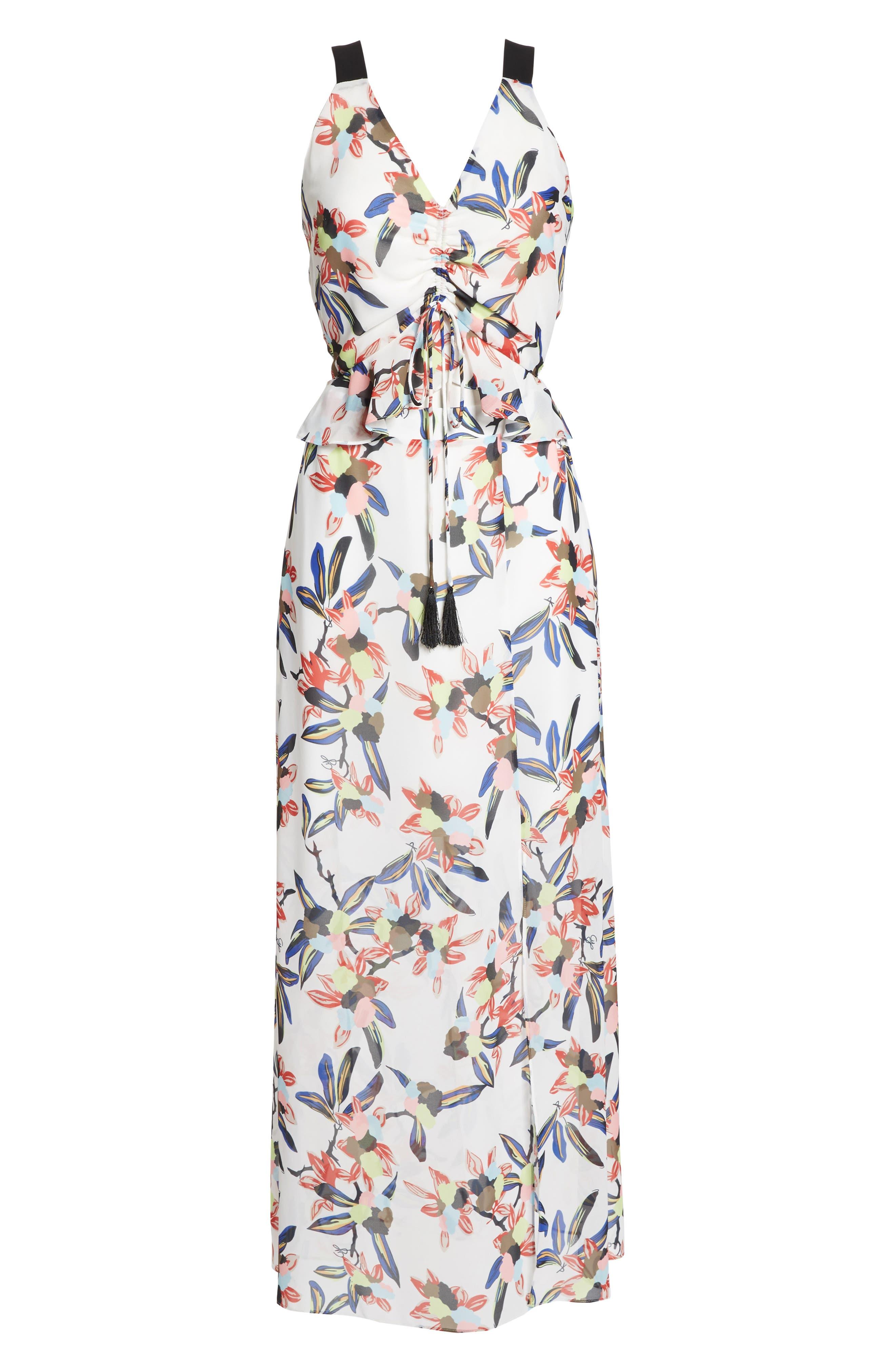 Floral Print Maxi Dress,                             Alternate thumbnail 7, color,                             White Multi