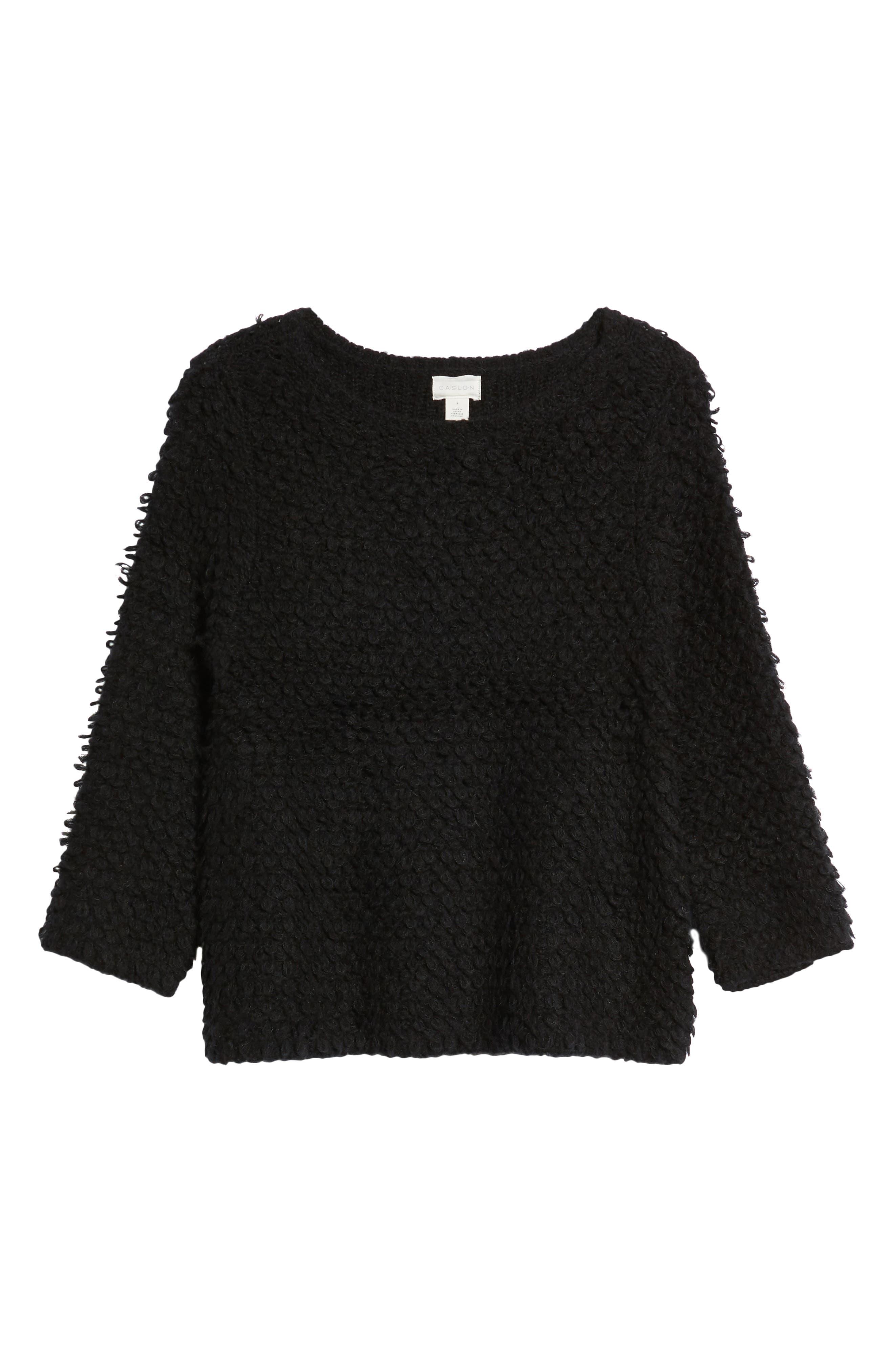 Loop Stitch Crewneck Sweater,                             Alternate thumbnail 6, color,                             Black