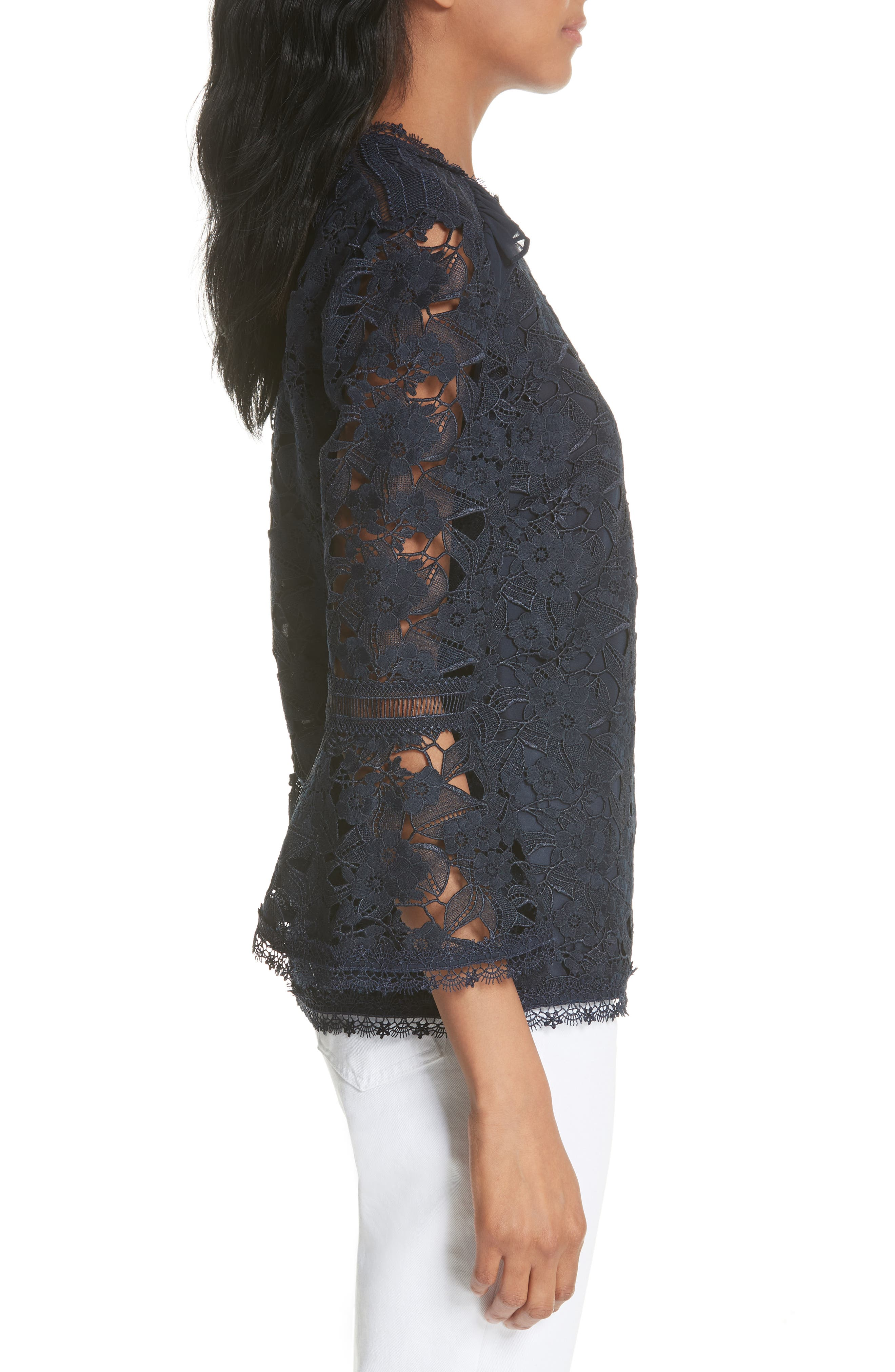 Flare Cuff Lace Top,                             Alternate thumbnail 3, color,                             Navy