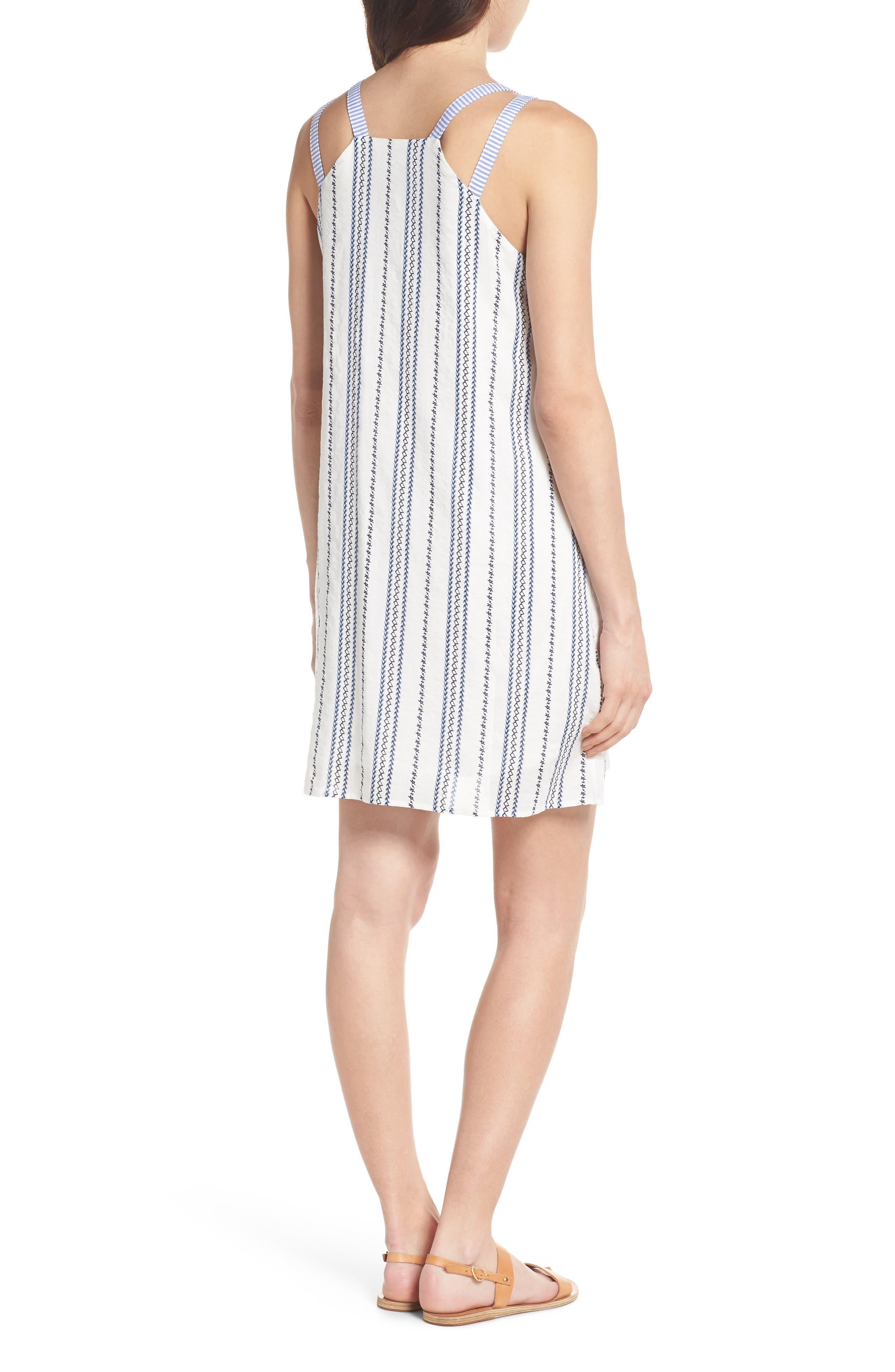 Stripe & Embroidery Shift Dress,                             Alternate thumbnail 2, color,                             White
