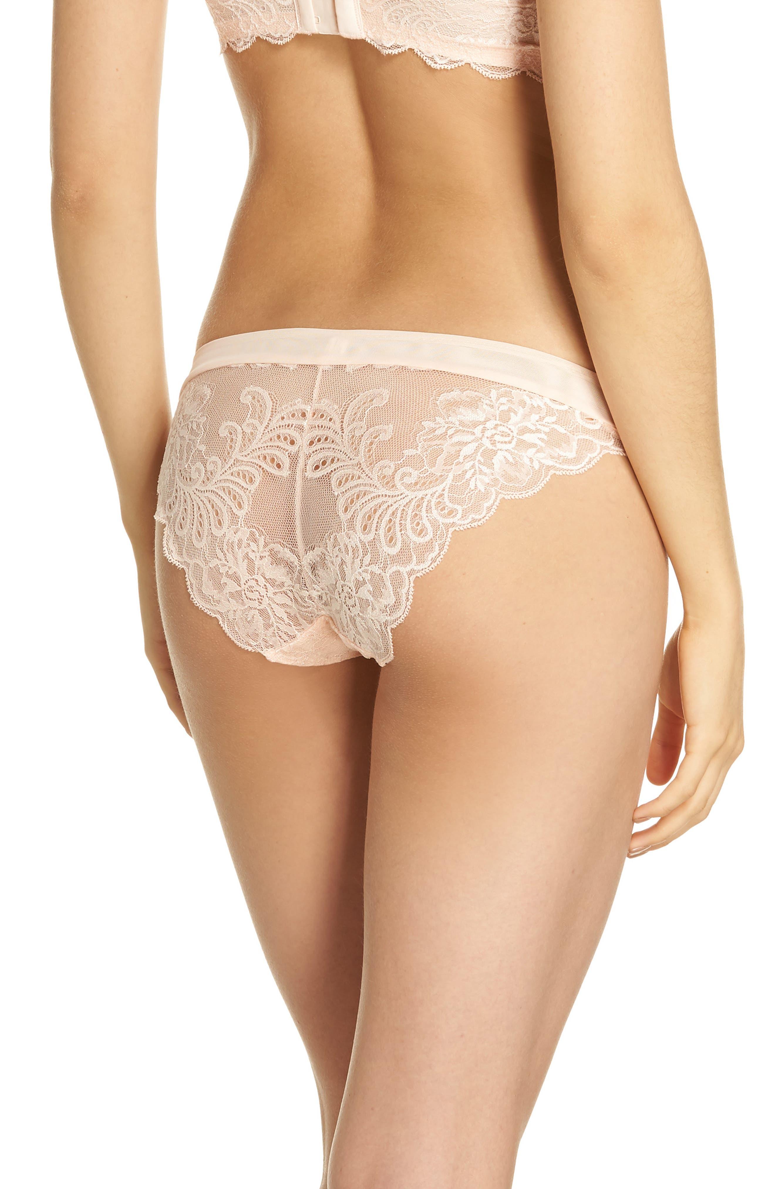 'Sophia' Lace Bikini,                             Alternate thumbnail 2, color,                             Peach Blossom