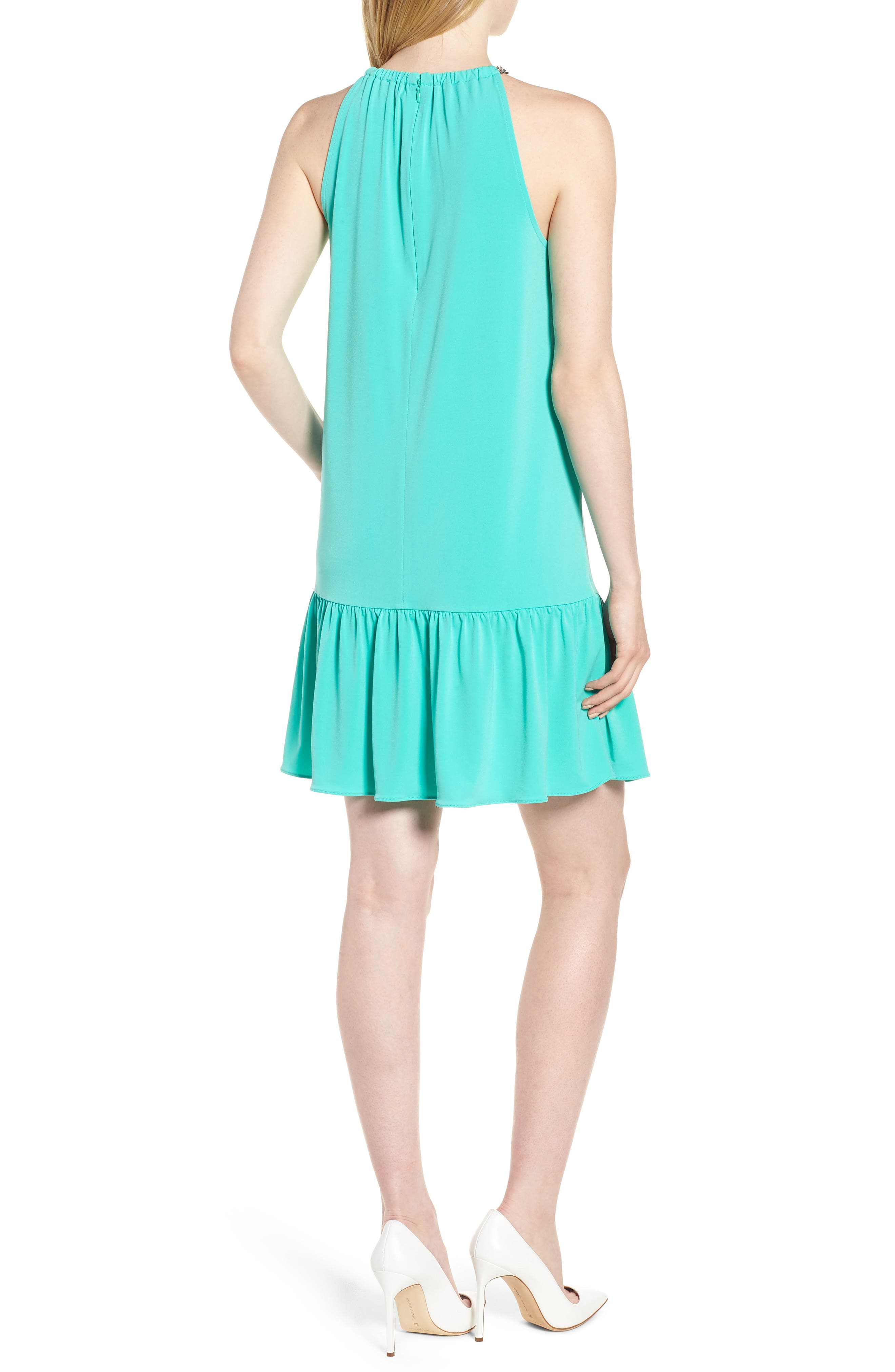 Chain Detail Halter Dress,                             Alternate thumbnail 2, color,                             Aqua