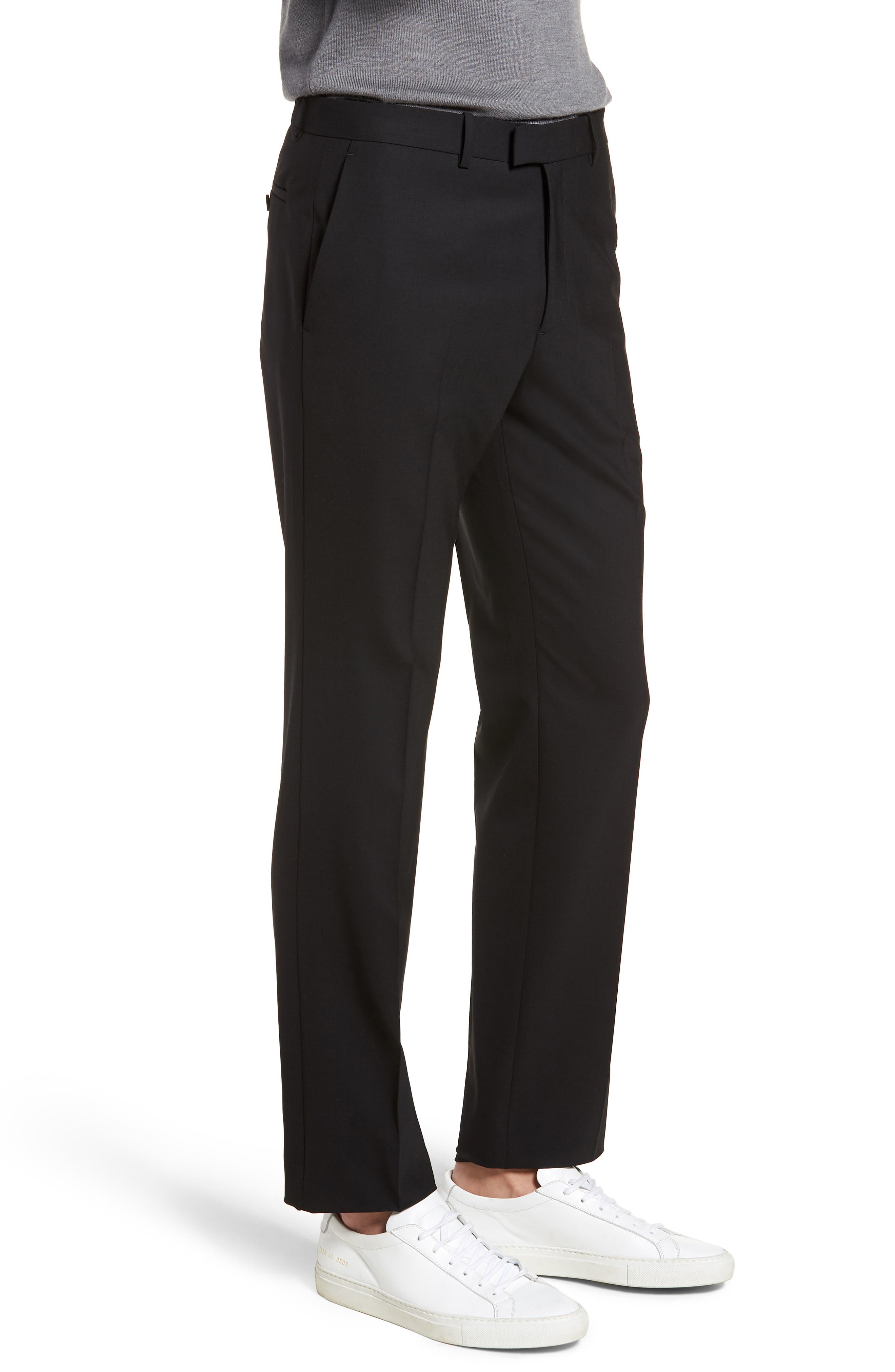 Marlo Flat Front Stretch Wool Pants,                             Alternate thumbnail 3, color,                             Black