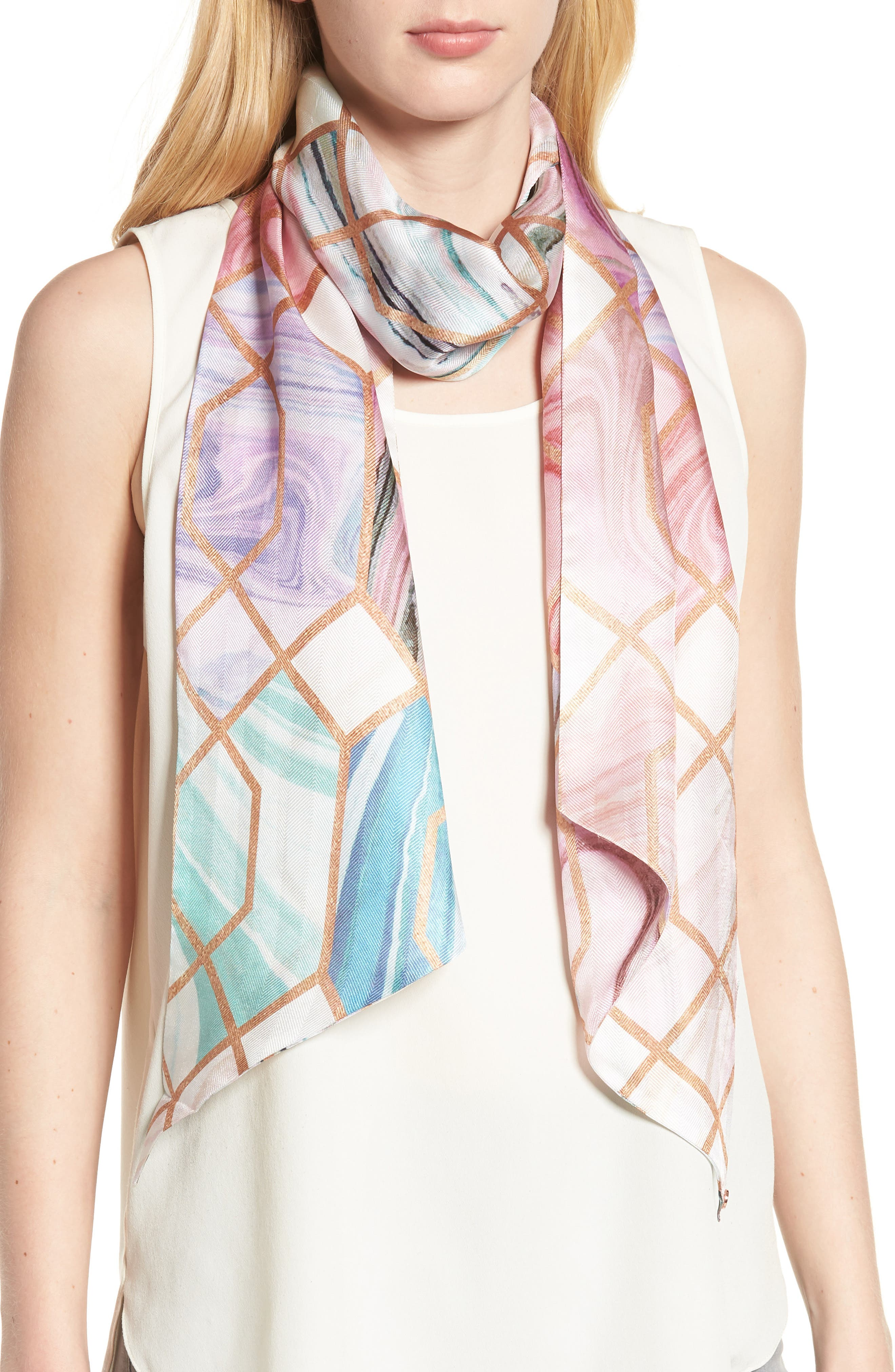 Adeelee - Sea of Clouds Silk Scarf,                         Main,                         color, White