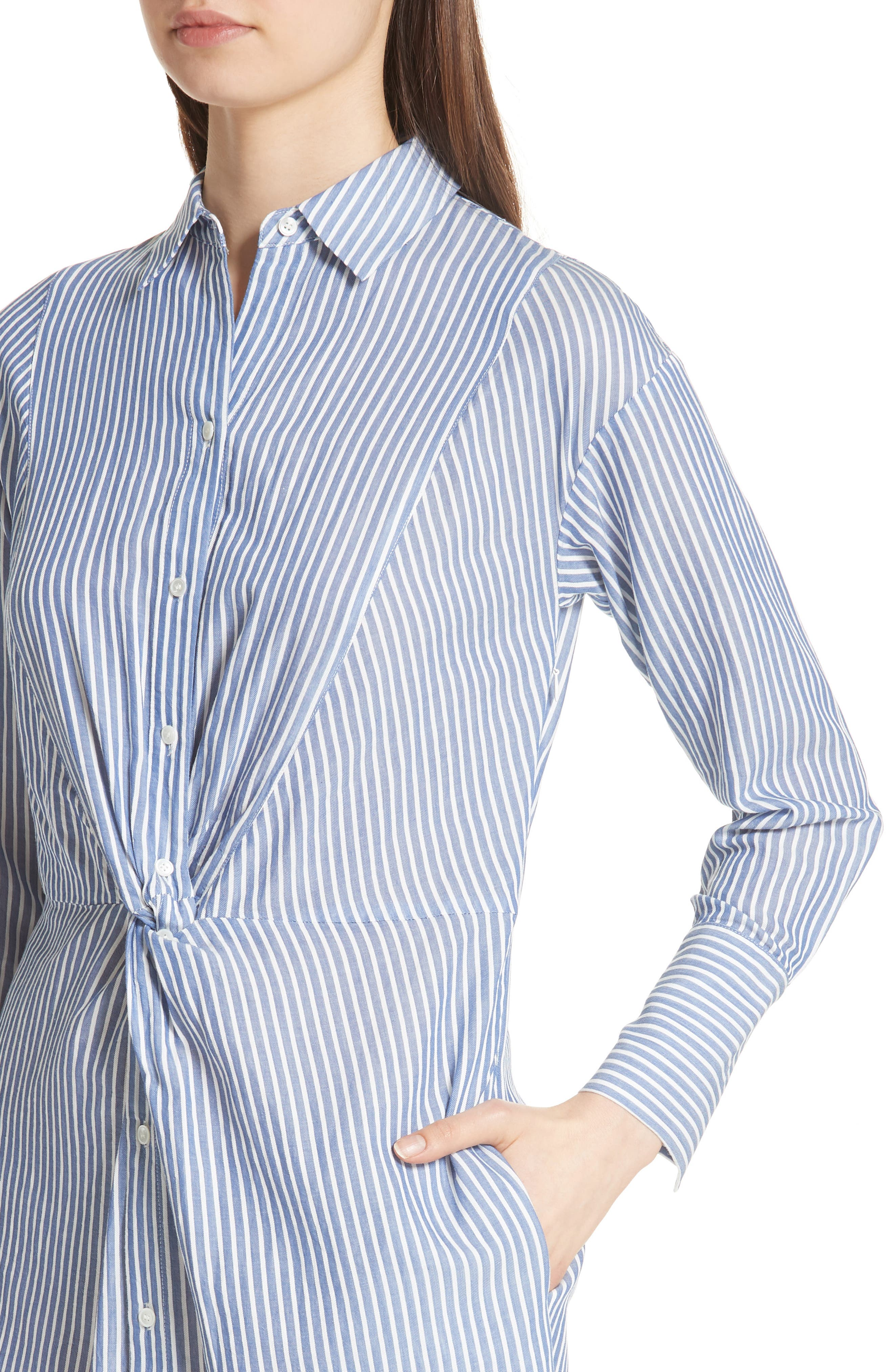 Classic Stripe Twist Cotton Blend Shirtdress,                             Alternate thumbnail 4, color,                             White/ Blue
