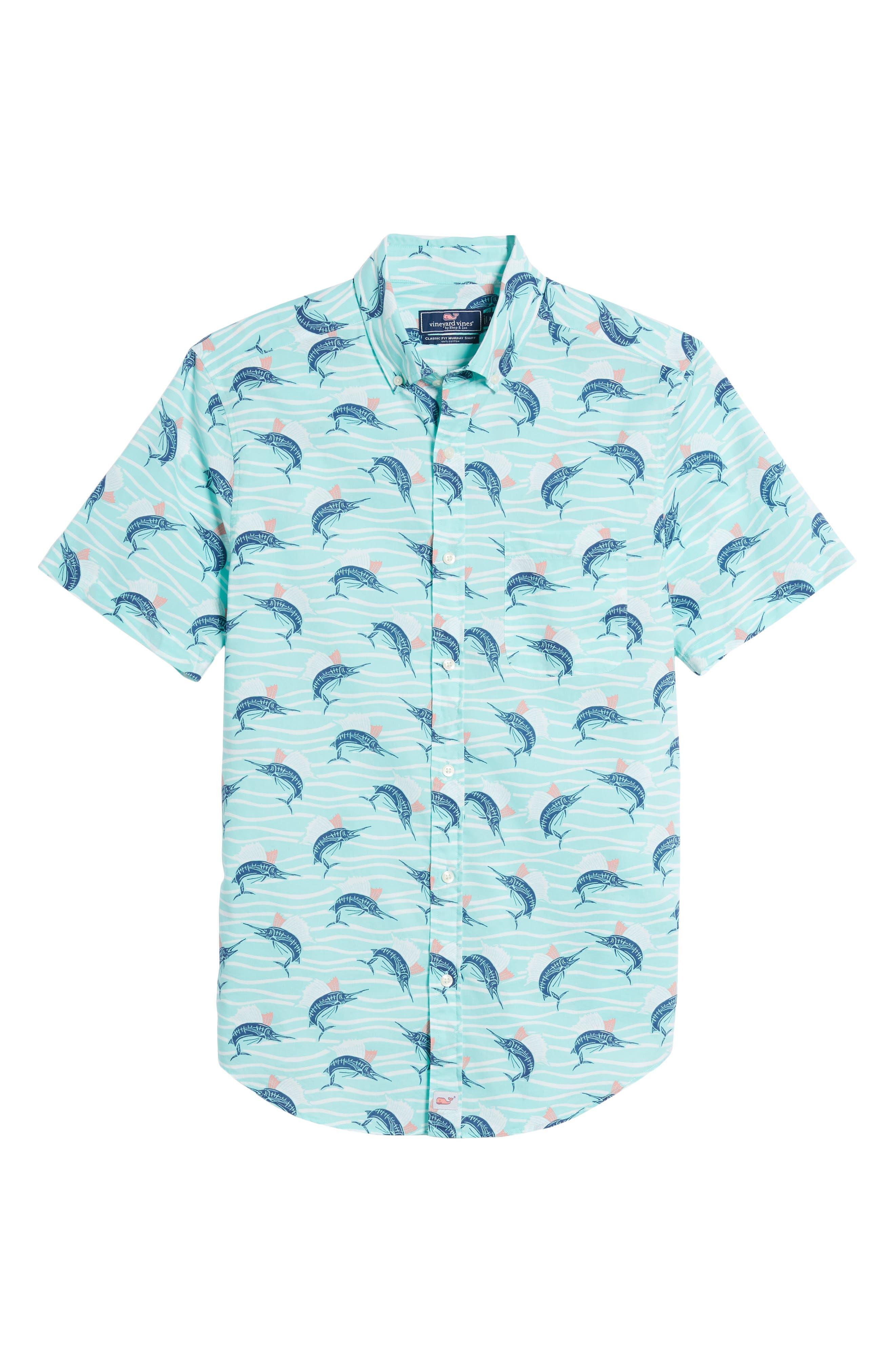 Classic Fit Print Short Sleeve Sport Shirt,                             Alternate thumbnail 6, color,                             Pool Side