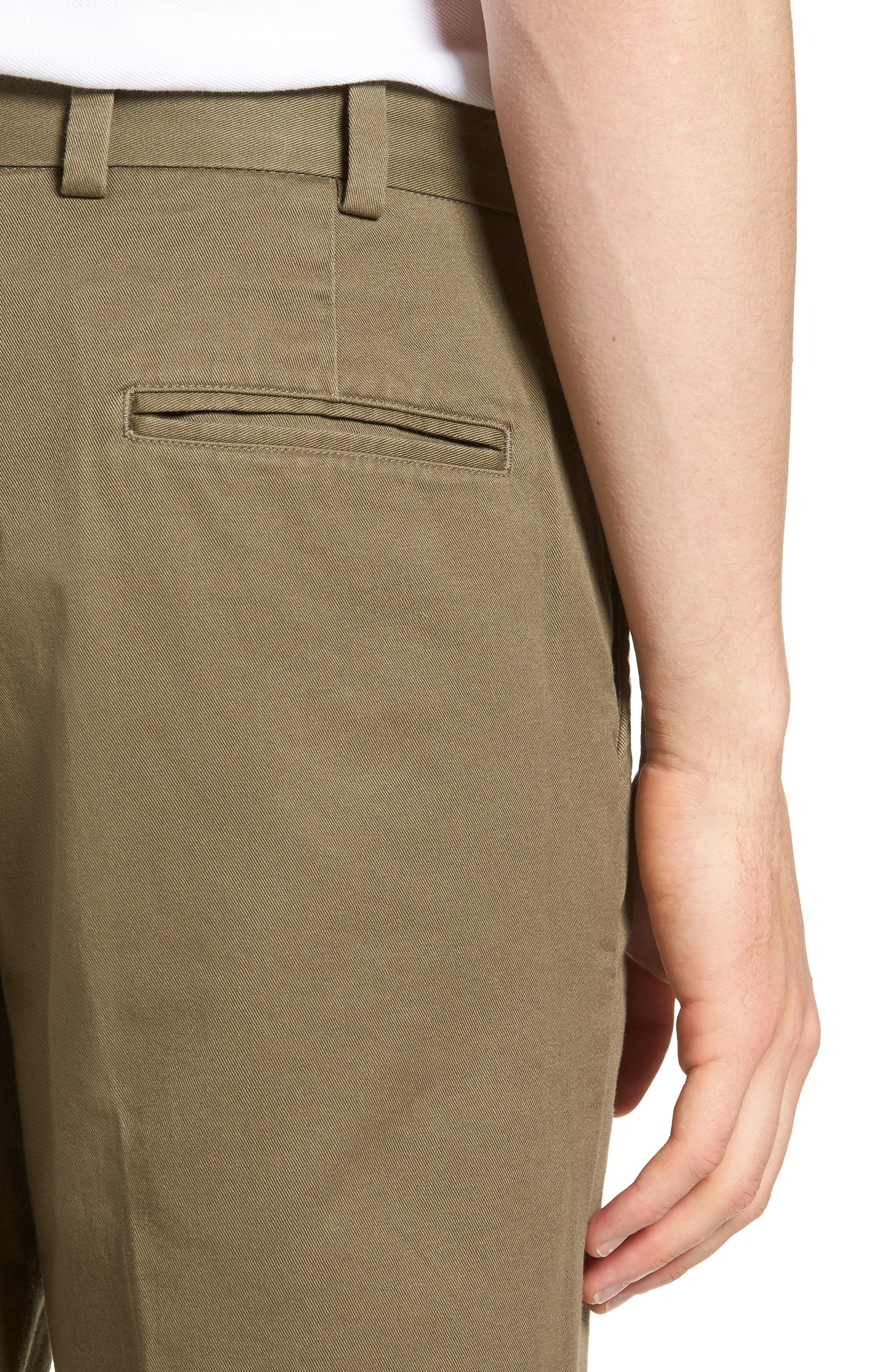 M3 Straight Fit Flat Front Vintage Twill Pants,                             Alternate thumbnail 4, color,                             Olive