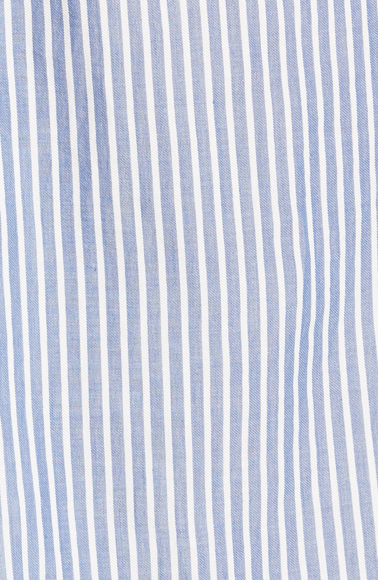Classic Stripe Twist Cotton Blend Shirtdress,                             Alternate thumbnail 5, color,                             White/ Blue