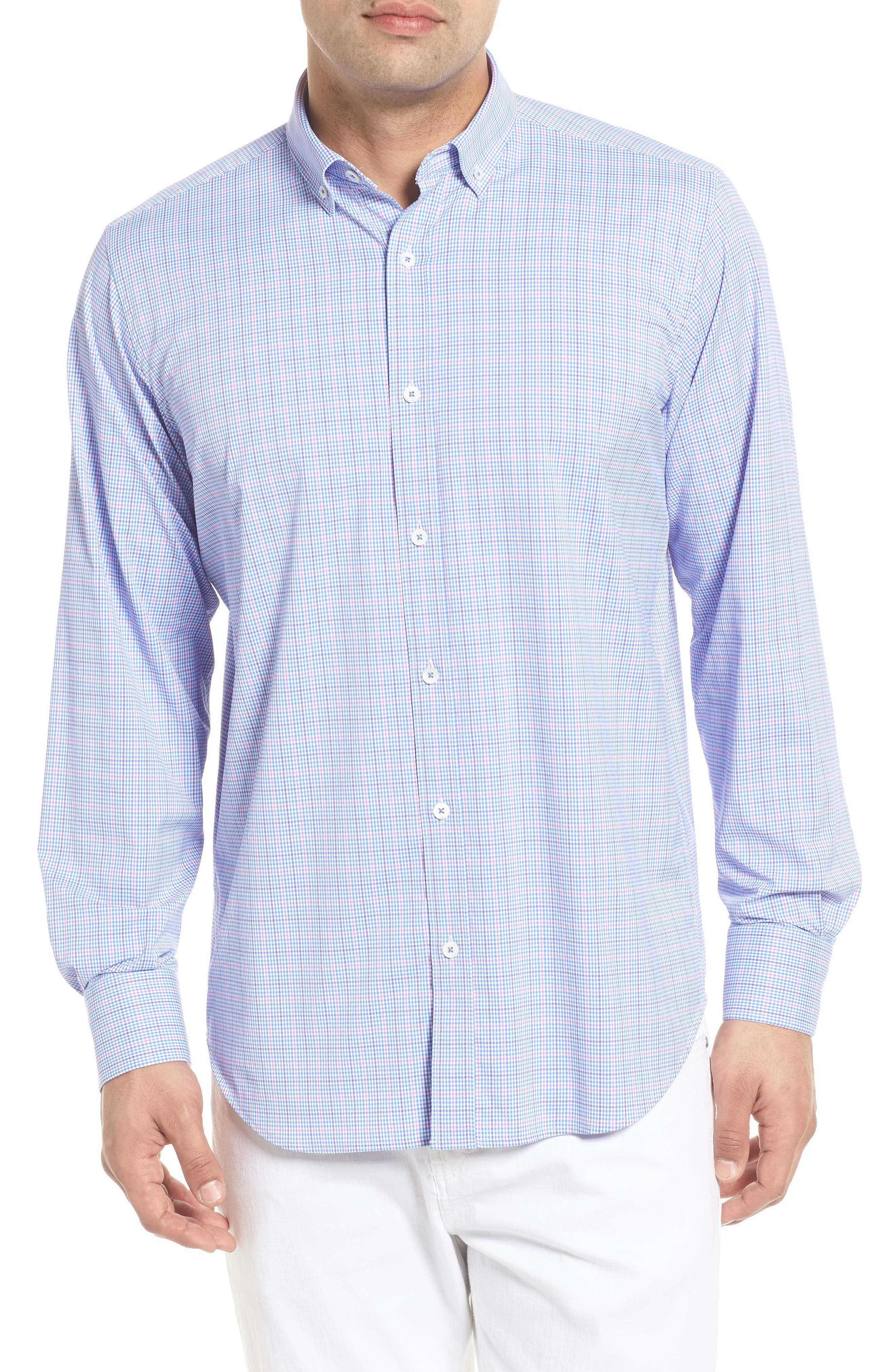 Classic Fit Pin Check Performance Sport Shirt,                         Main,                         color, Pink