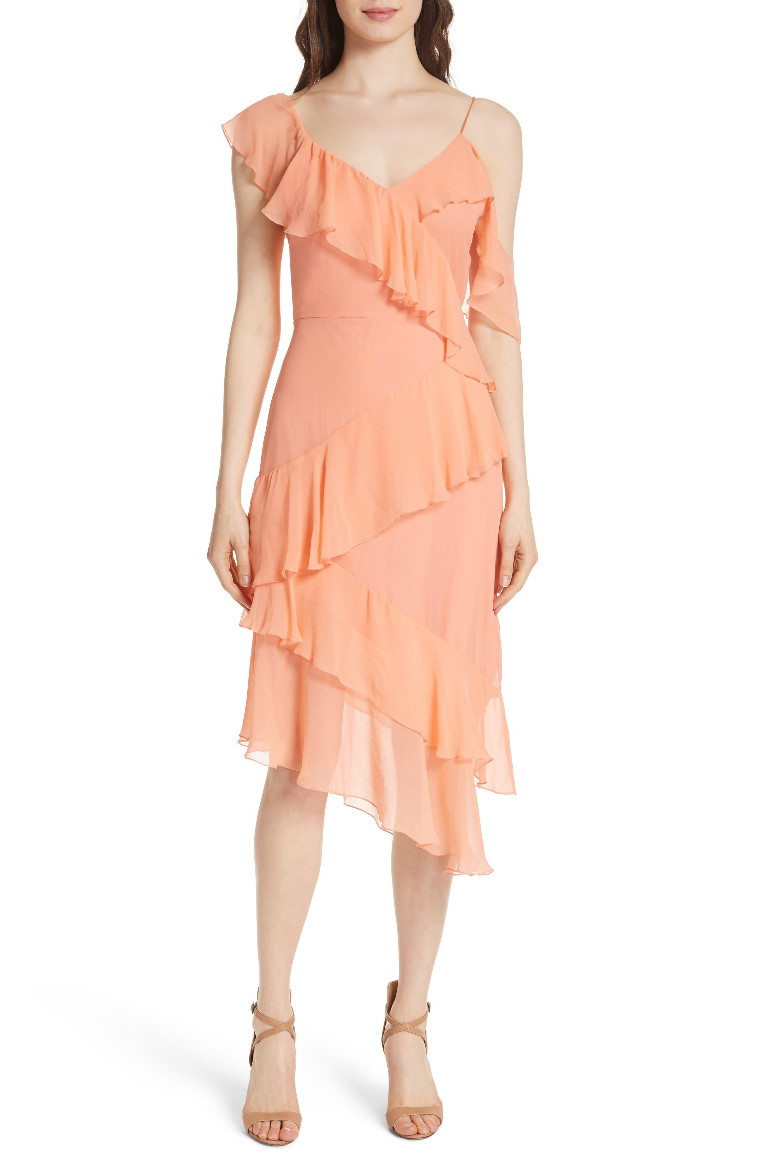 Olympia Asymmetrical Silk Chiffon Dress,                             Main thumbnail 1, color,                             Peach