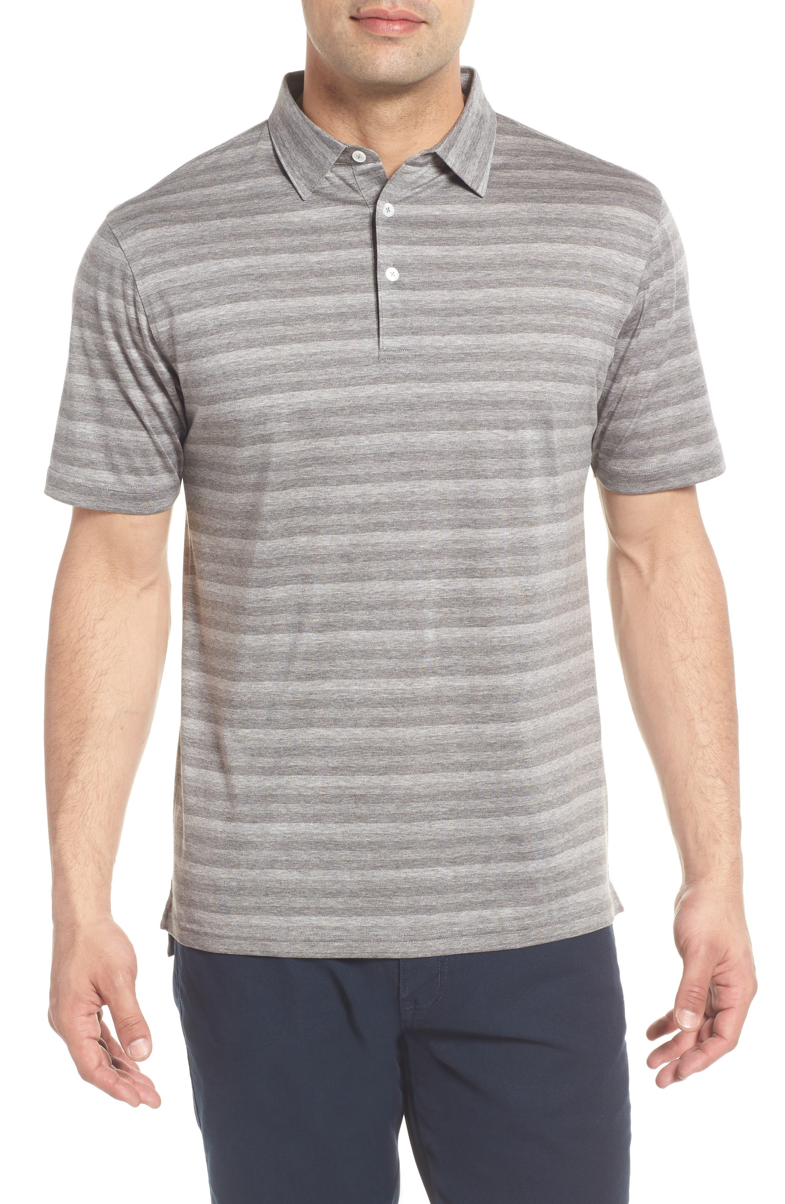 Tides Regular Fit Stripe Polo,                         Main,                         color, Argento