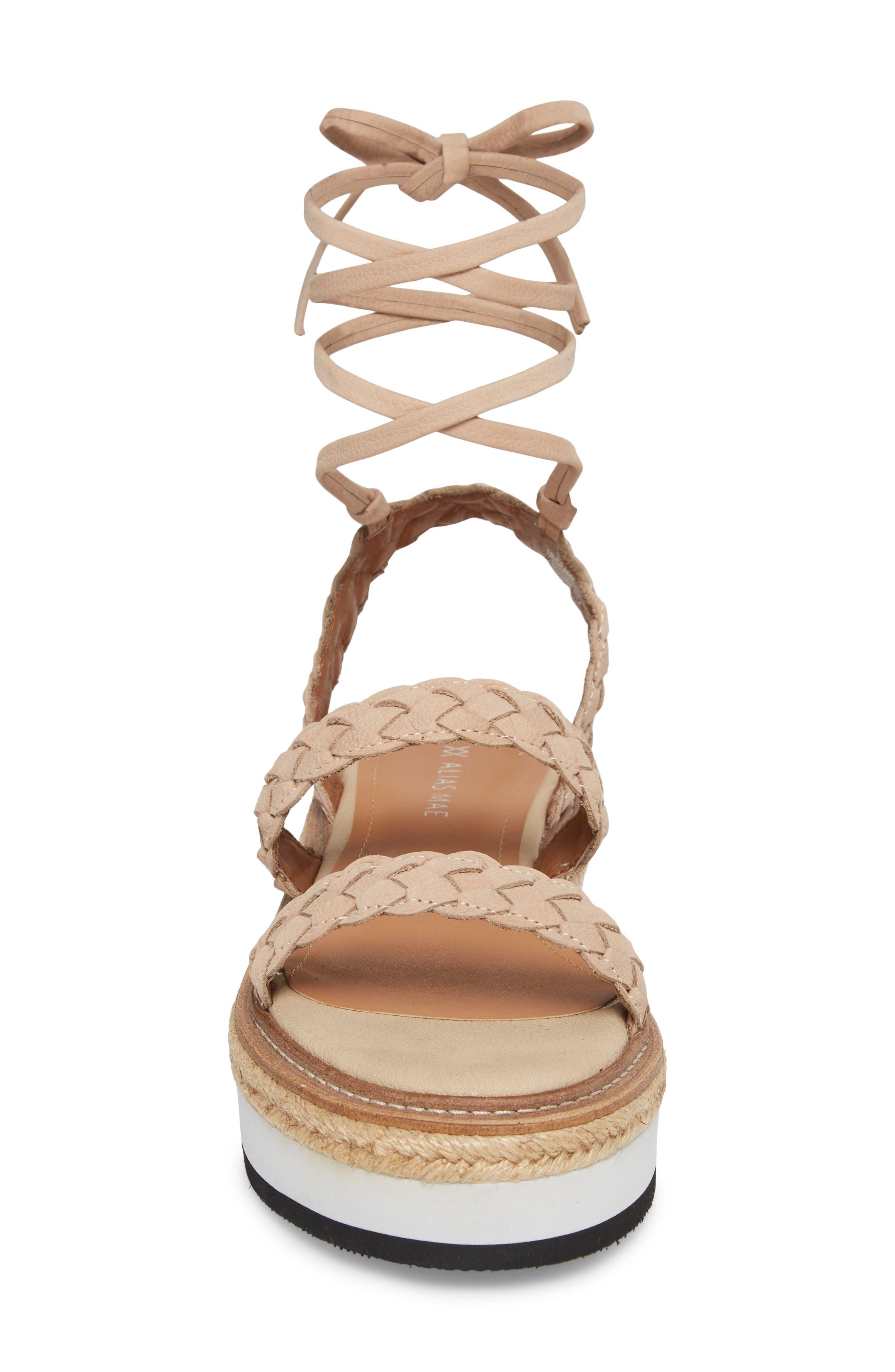 Nieve Braided Platform Sandal,                             Alternate thumbnail 5, color,                             Natural Leather