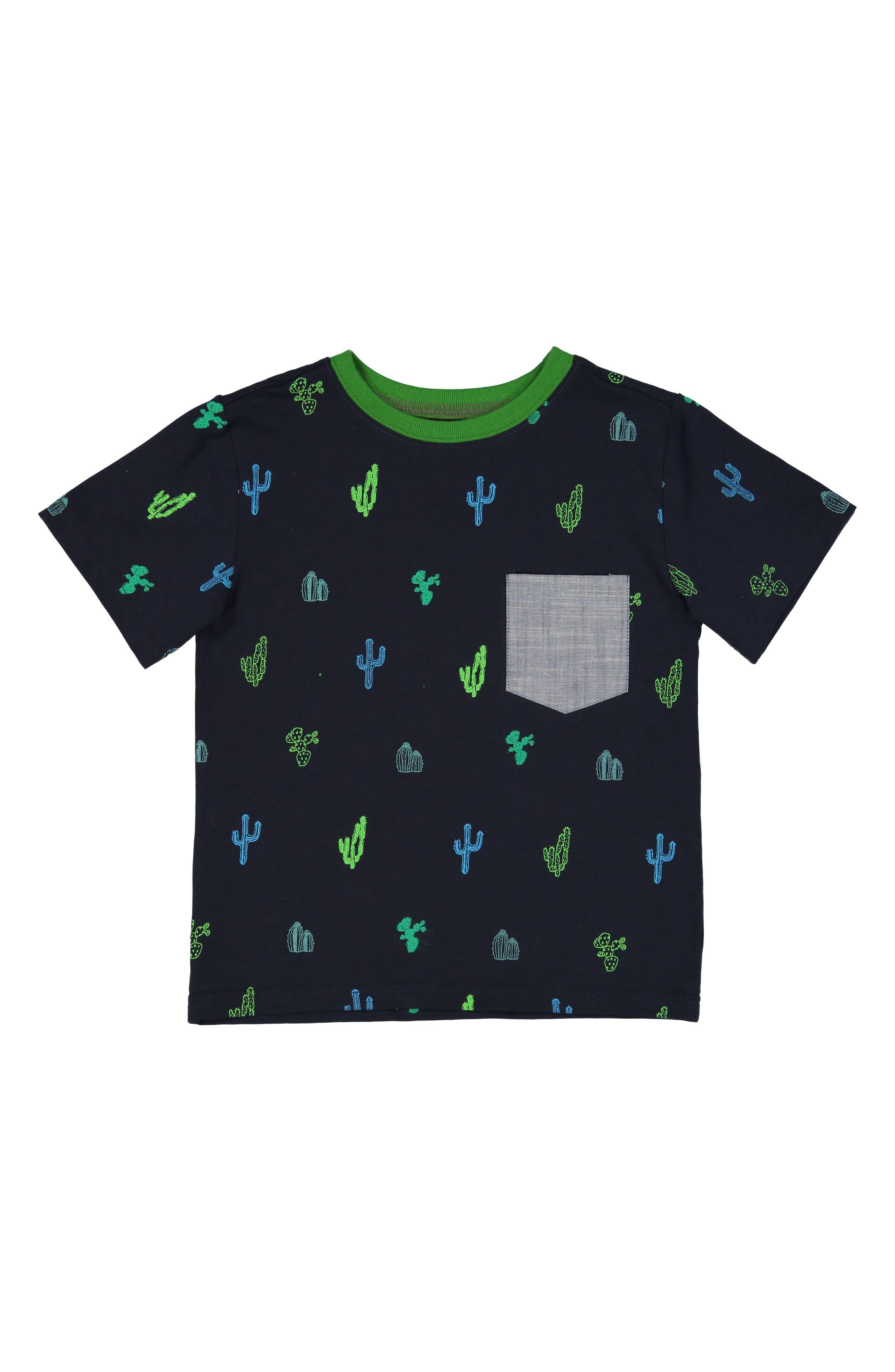 Catcus Print T-Shirt,                         Main,                         color, Navy
