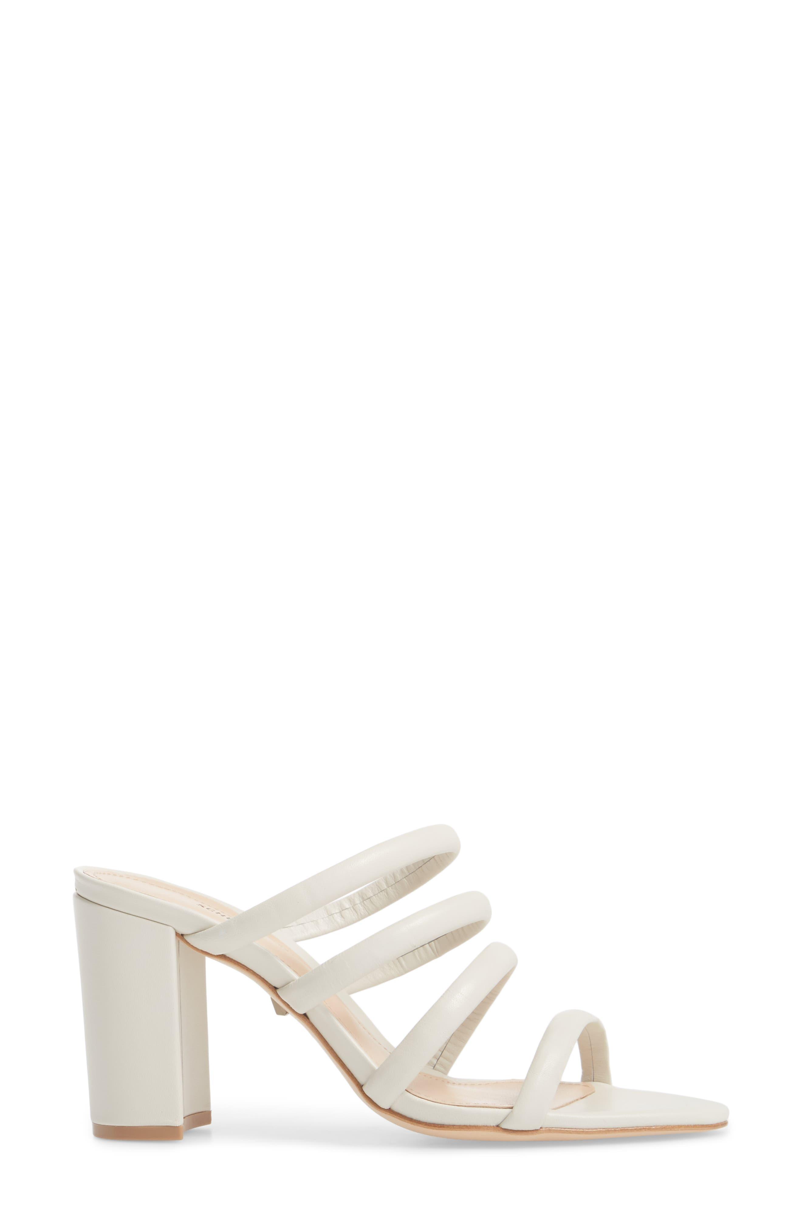 Felisa Block Heel Sandal,                             Alternate thumbnail 3, color,                             Pearl Leather