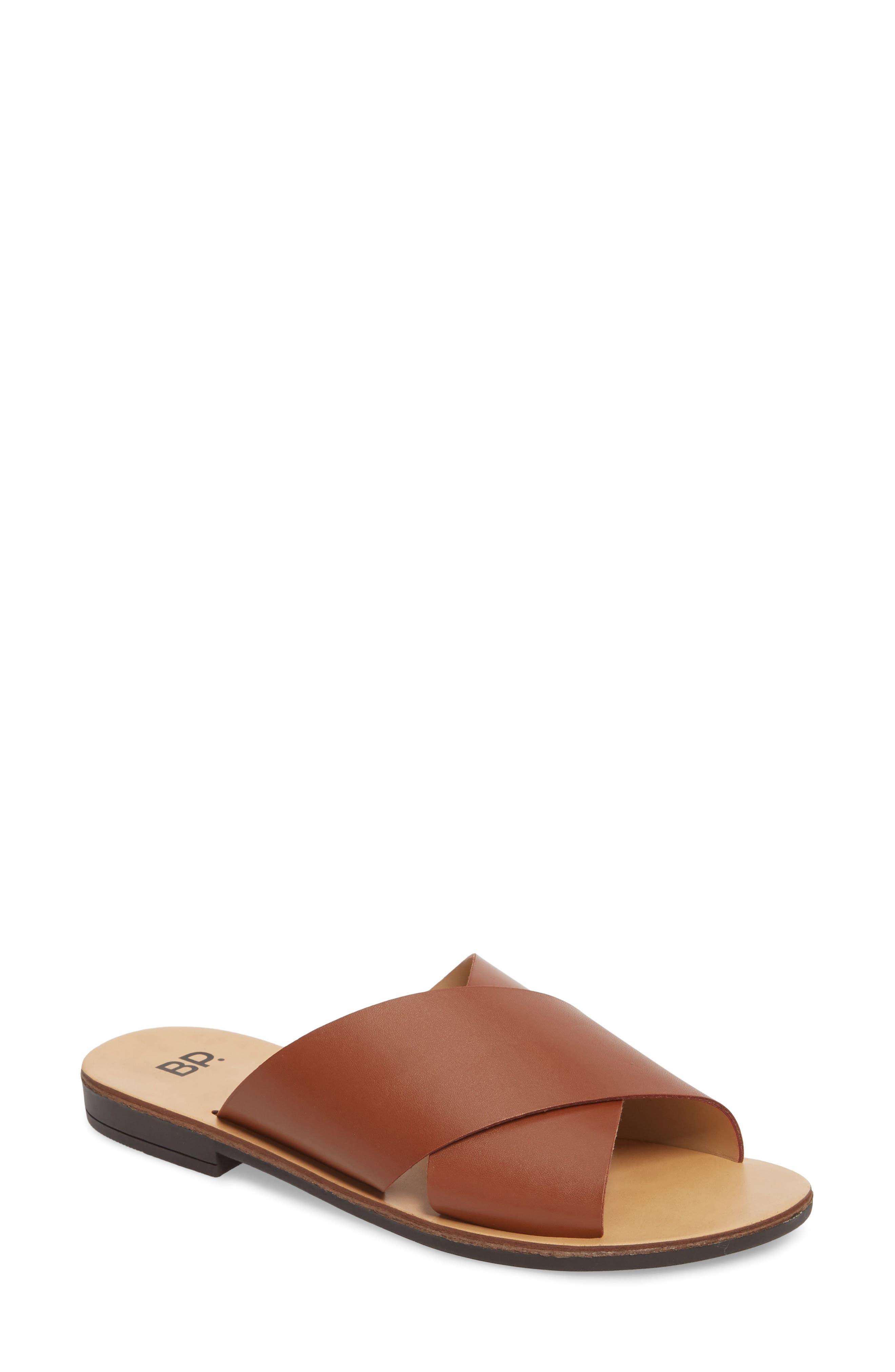 Twist Cross Strap Sandal,                             Main thumbnail 1, color,                             Cognac Faux Leather