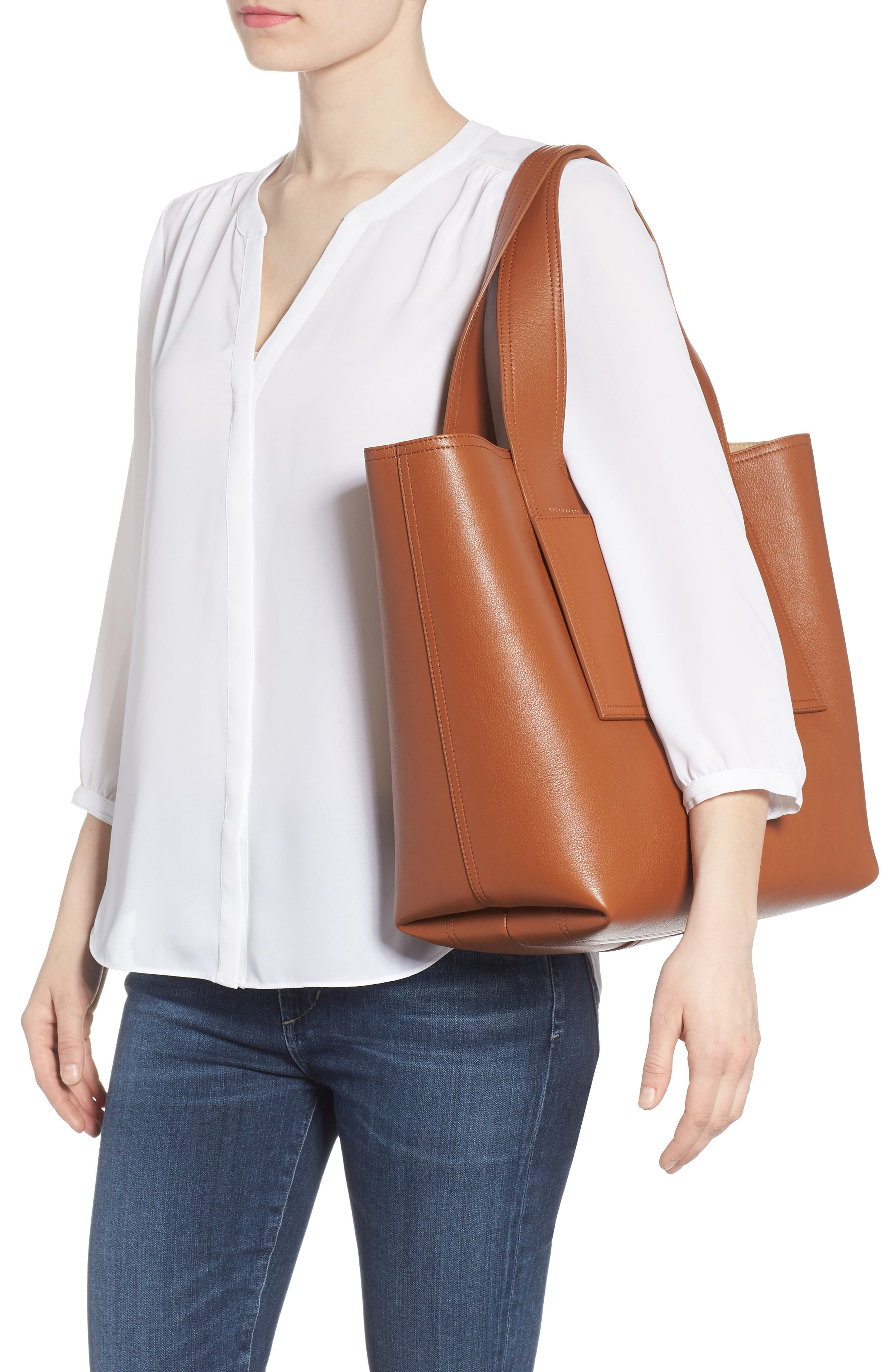 Apron Leather Tote,                             Alternate thumbnail 2, color,                             Cuoio