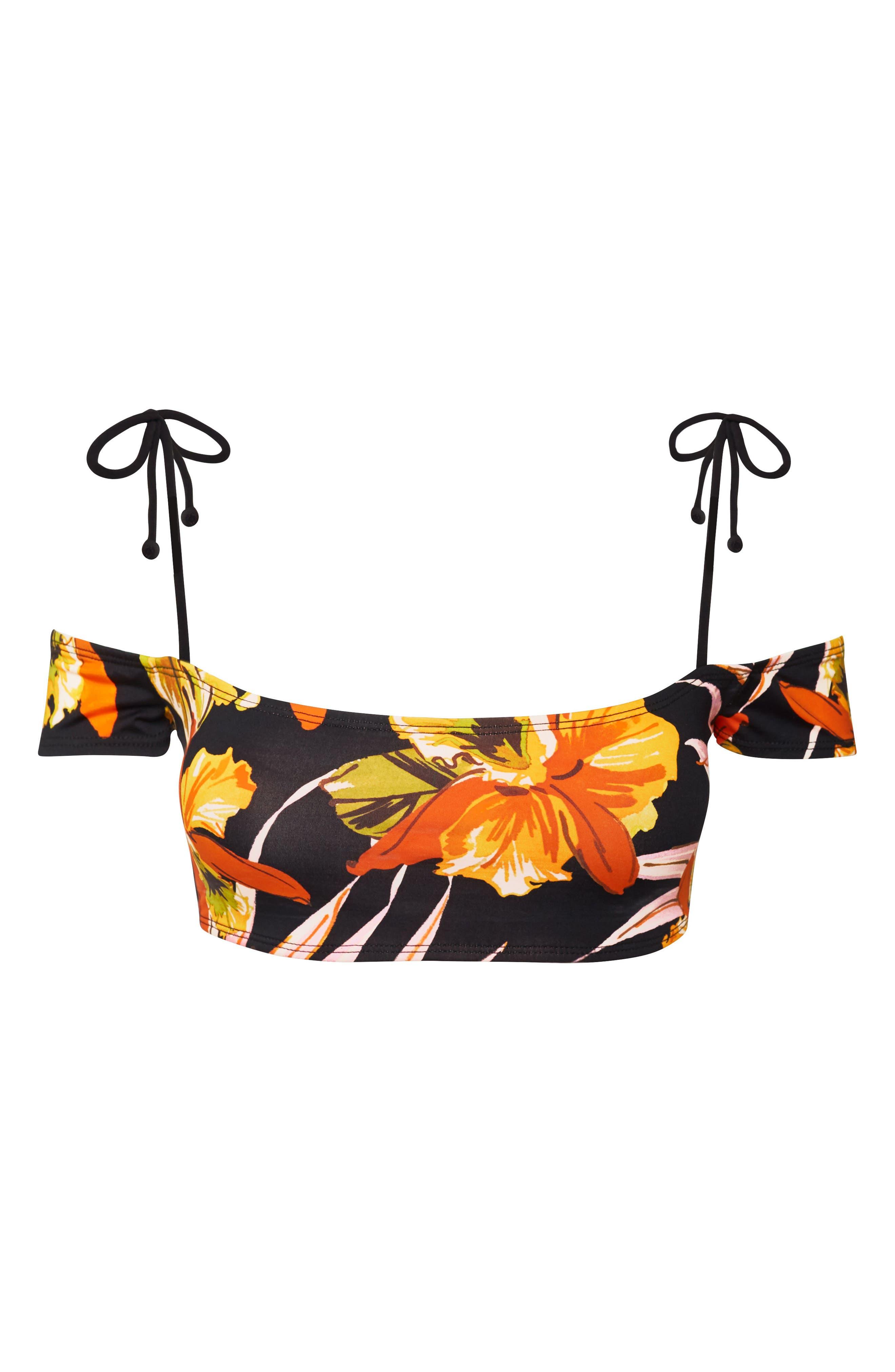 Mila Off the Shoulder Bikini Top,                             Alternate thumbnail 6, color,                             Night Bloom