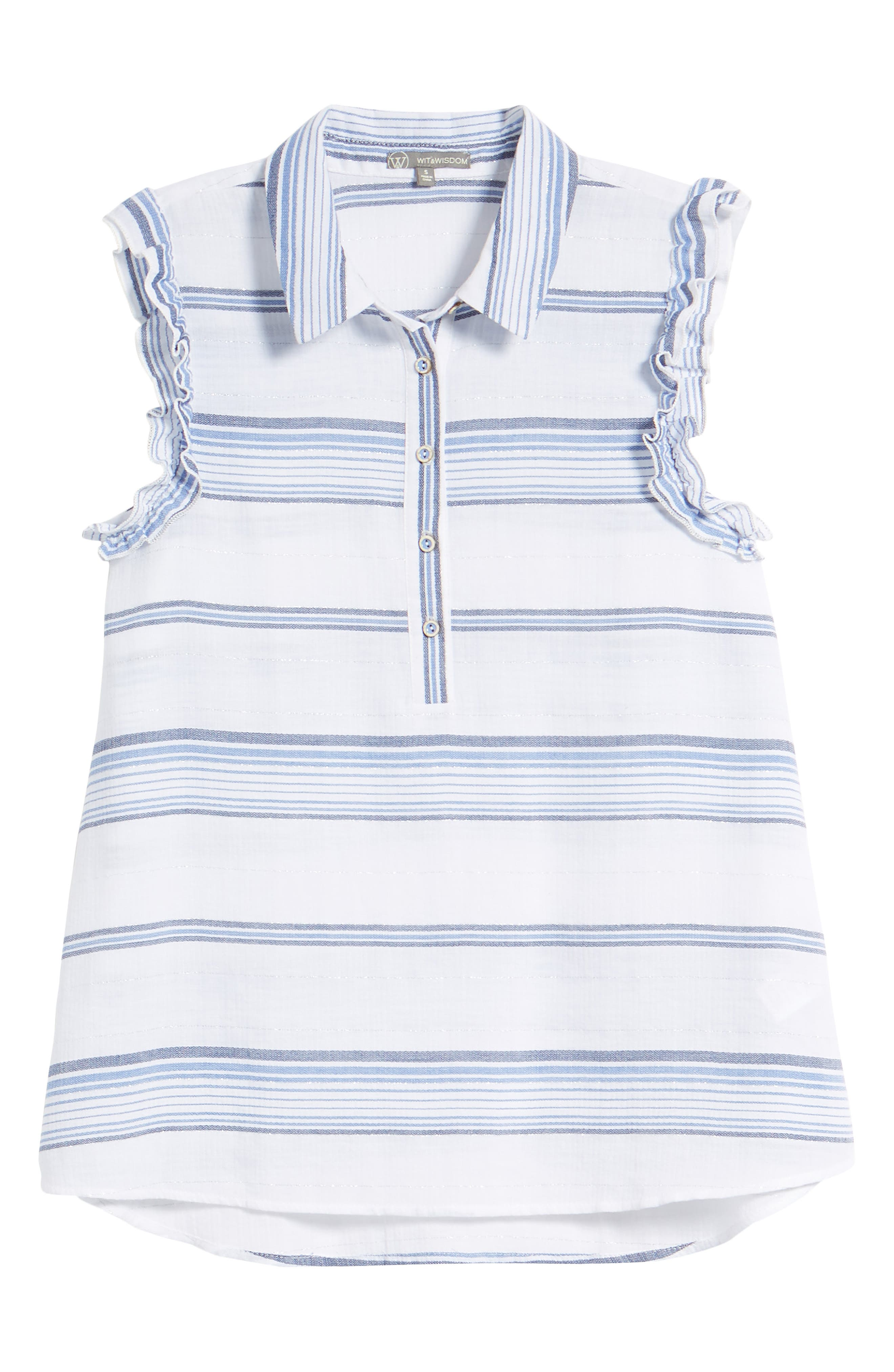 Ruffled Sleeve Striped Top,                             Alternate thumbnail 7, color,                             Blue/ White