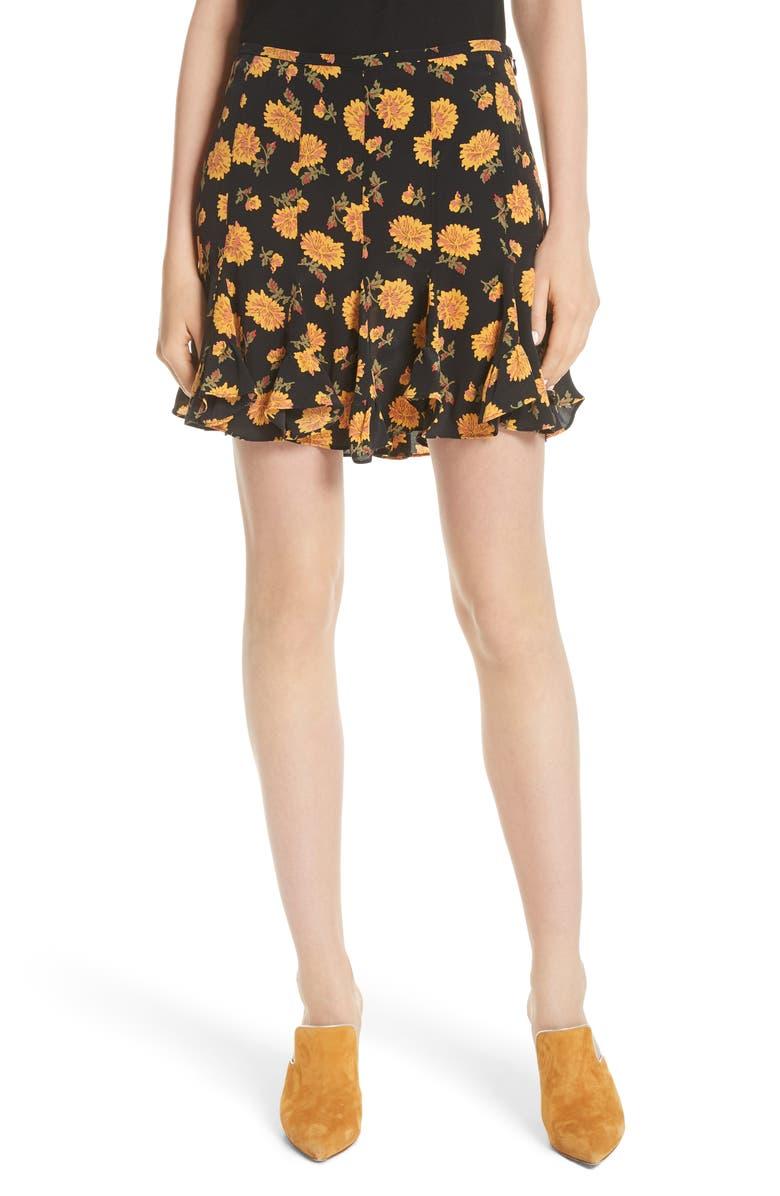 Weller Floral Silk Miniskirt