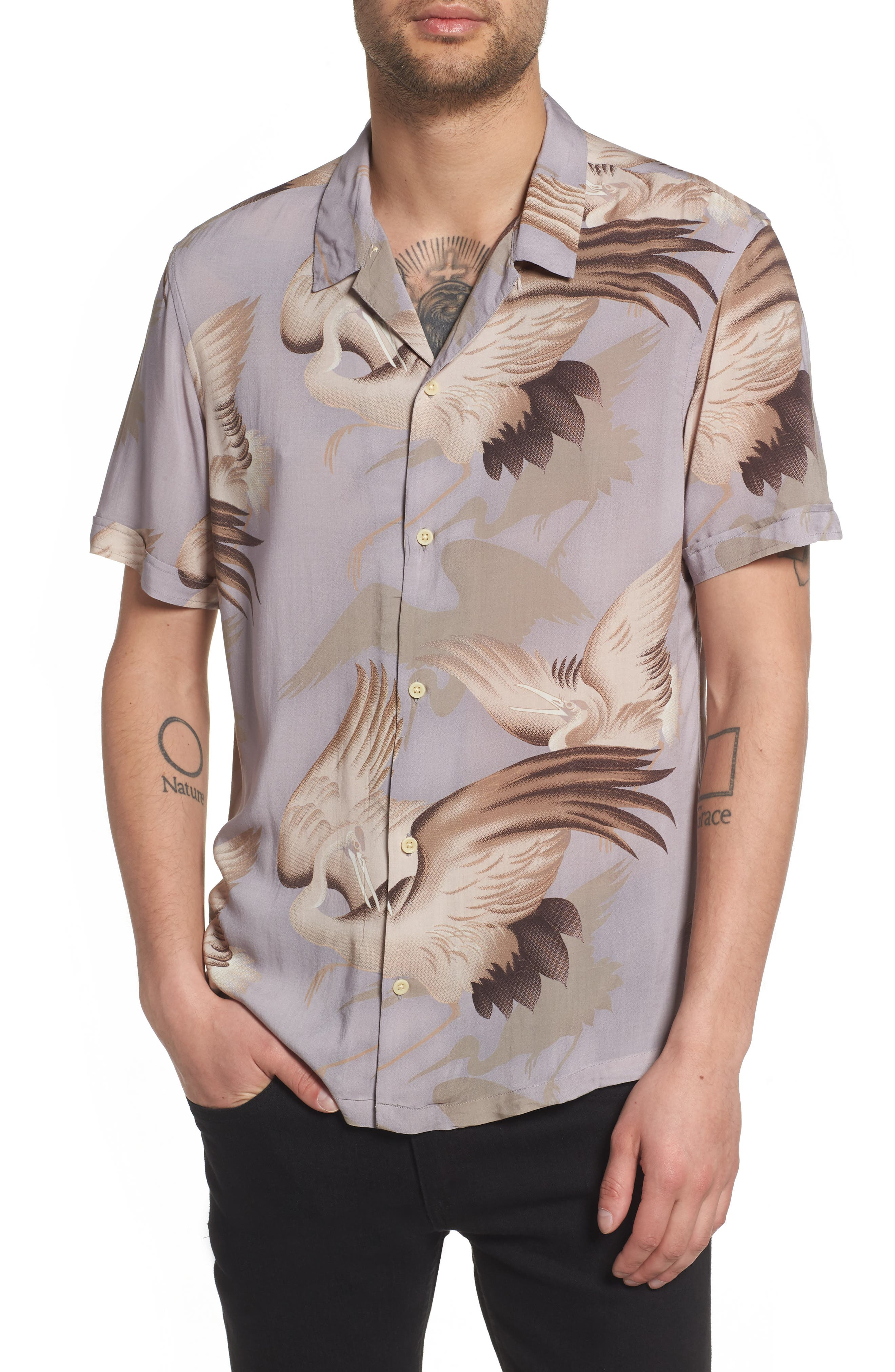 Wader Regular Fit Short Sleeve Sport Shirt,                             Main thumbnail 1, color,                             Chrome Grey