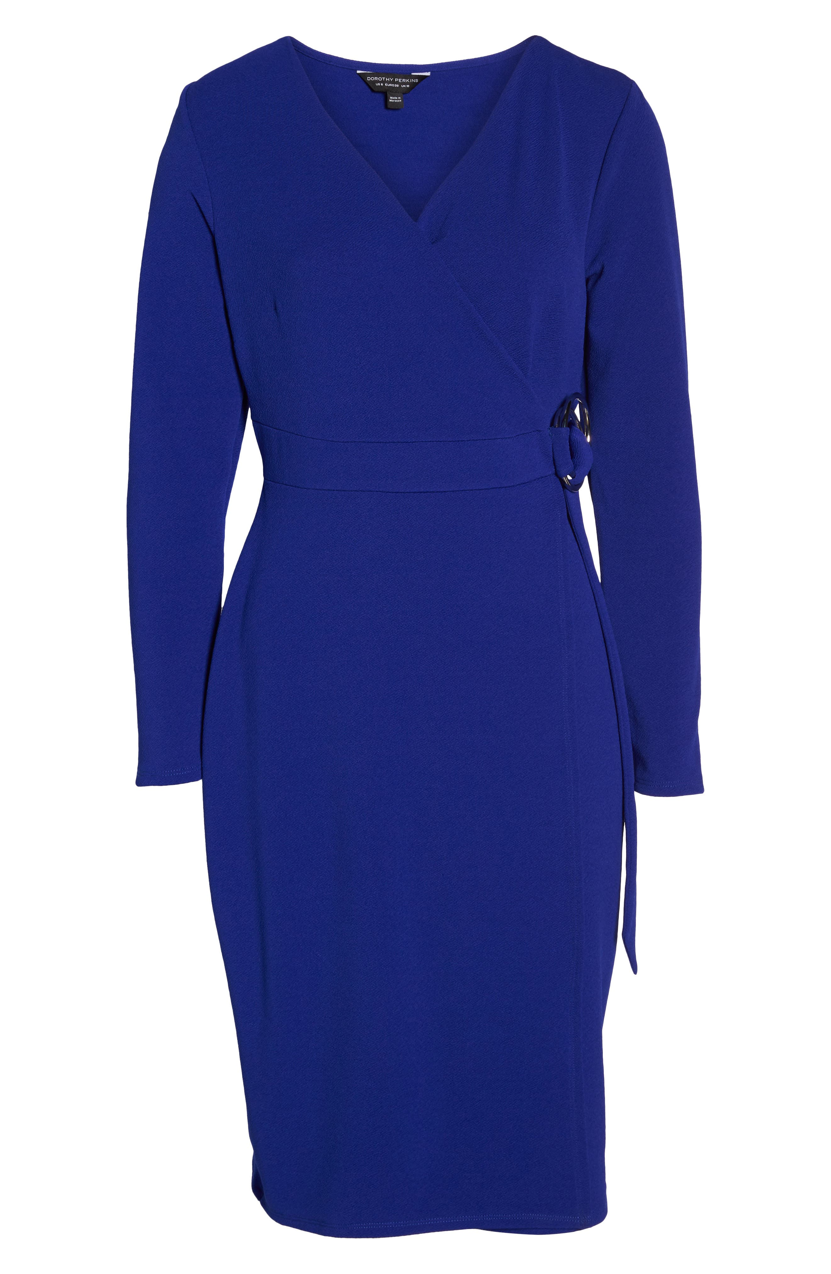 Ring Tie Wrap Dress,                             Alternate thumbnail 6, color,                             Cobalt