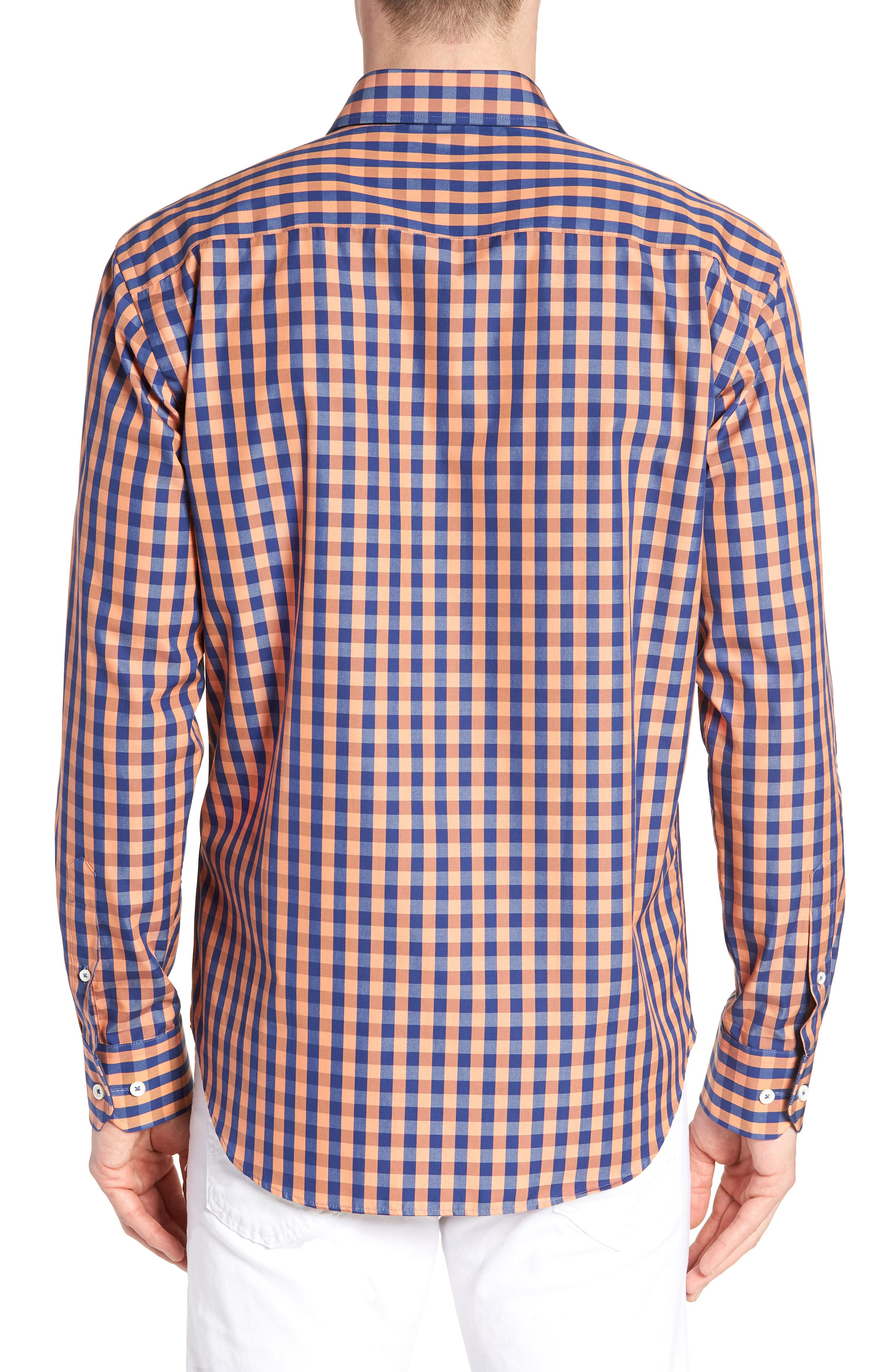 Shaped Fit Check Sport Shirt,                             Alternate thumbnail 3, color,                             Jaffa
