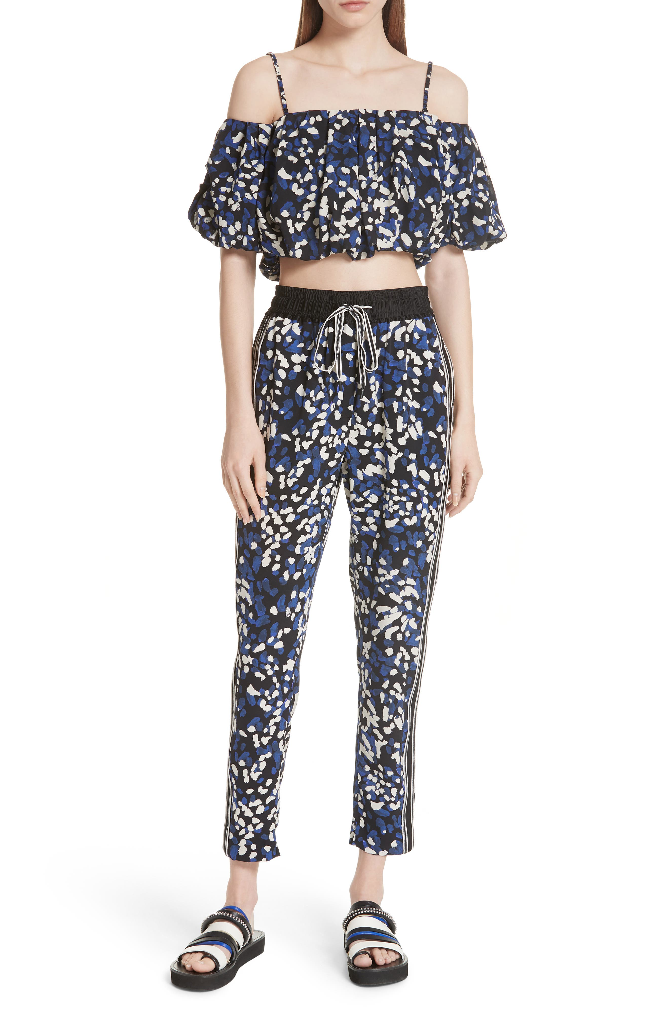 3.1 Phillip Lim Painted Dot Off the Shoulder Crop Top