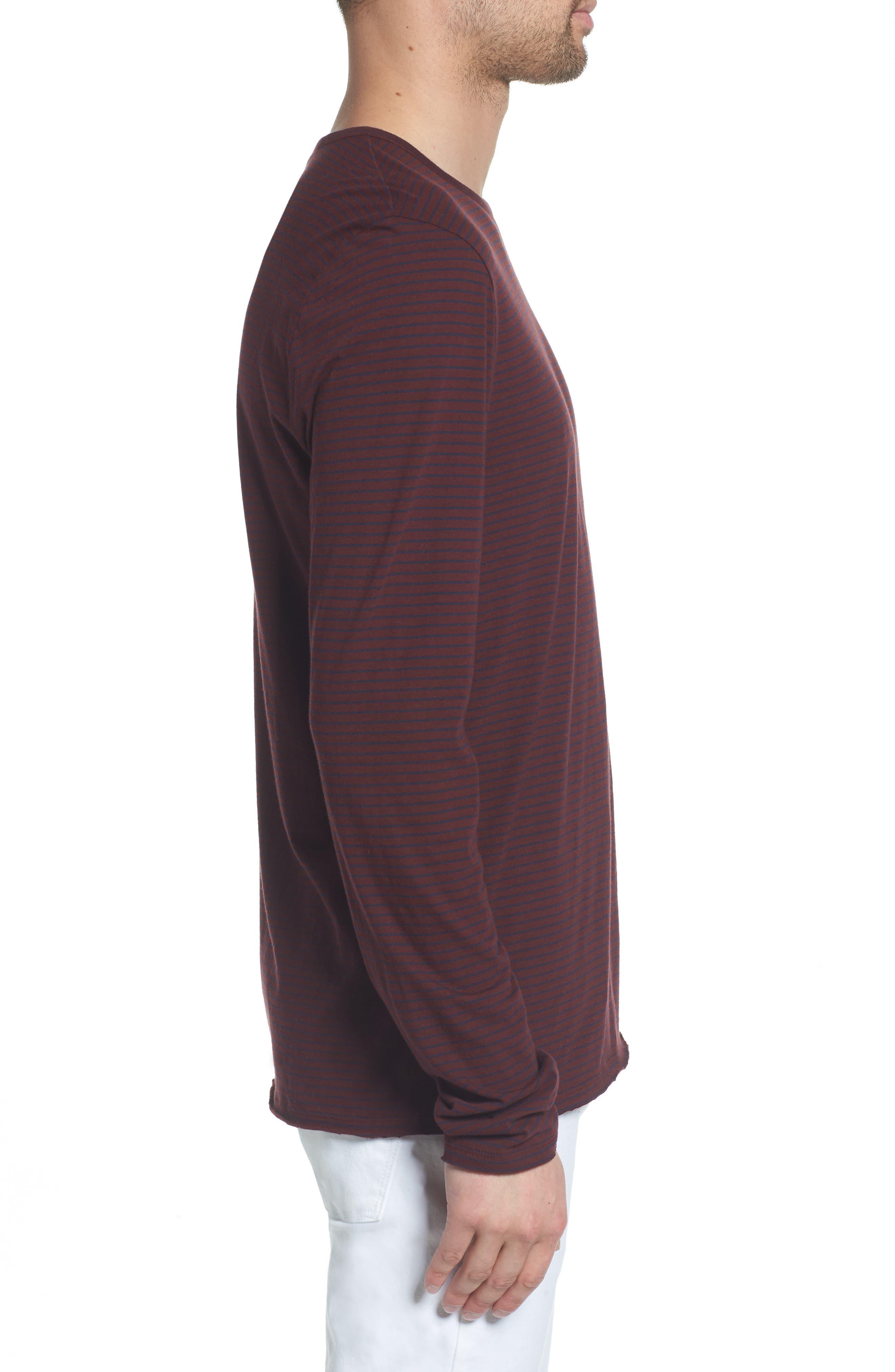 Stripe Long Sleeve Crewneck T-Shirt,                             Alternate thumbnail 3, color,                             Black Cherry/ New Coastal