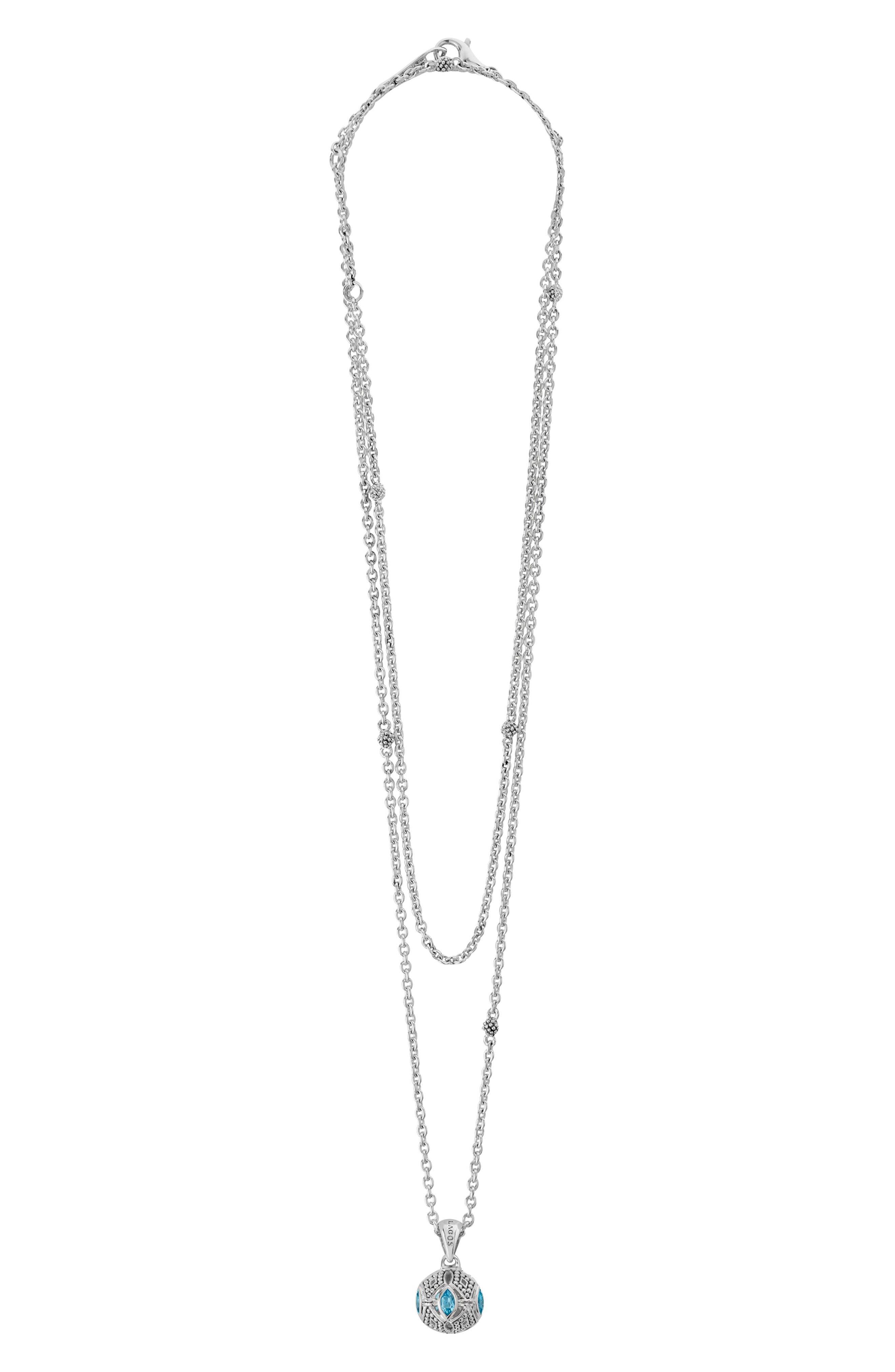 Caviar Talisman Marquee Ball Link Necklace,                         Main,                         color, Silver/ Blue Topaz