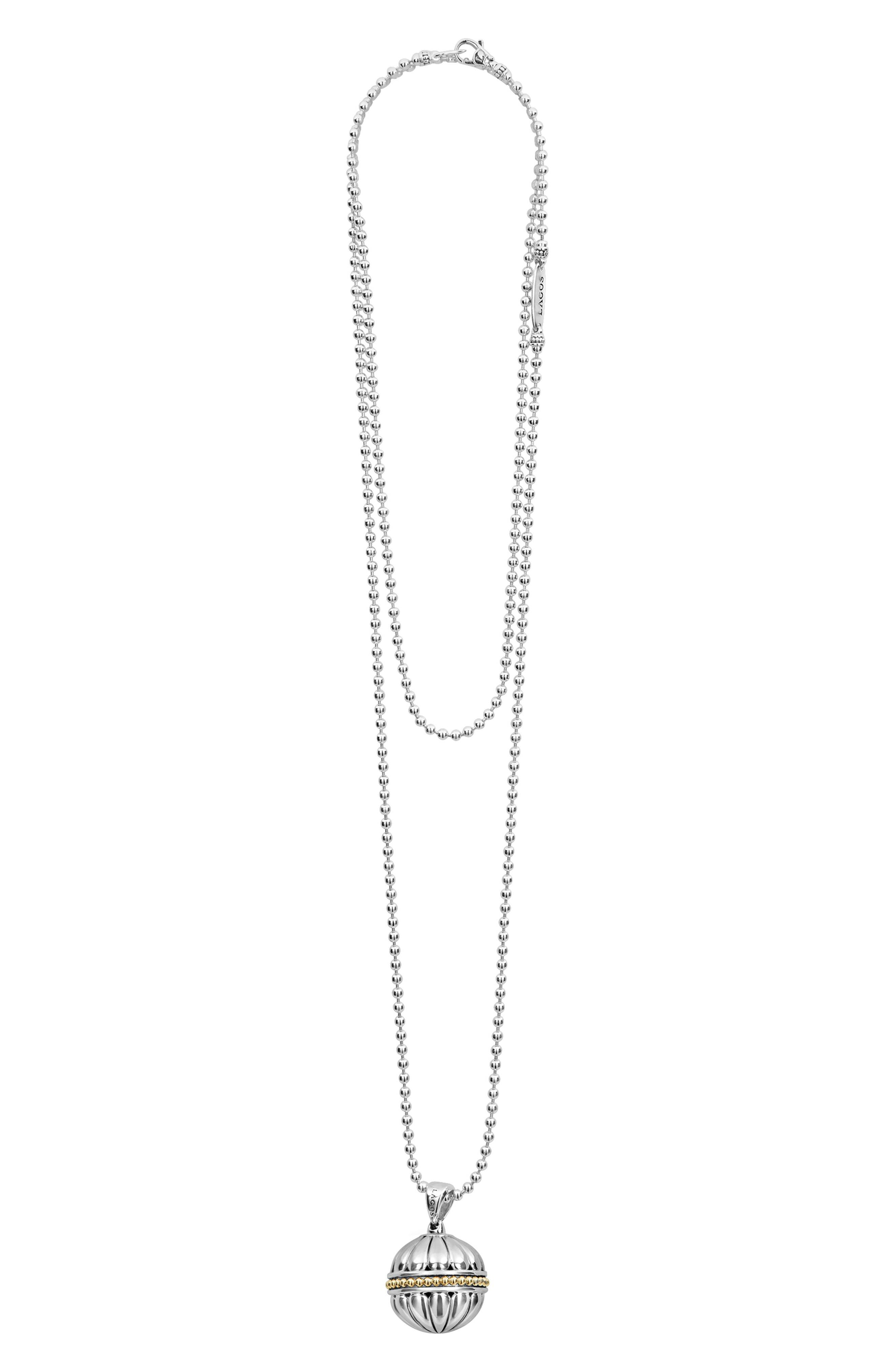 Caviar Talisman Beaded Band Ball Pendant Necklace,                         Main,                         color, Silver/ 18K Gold