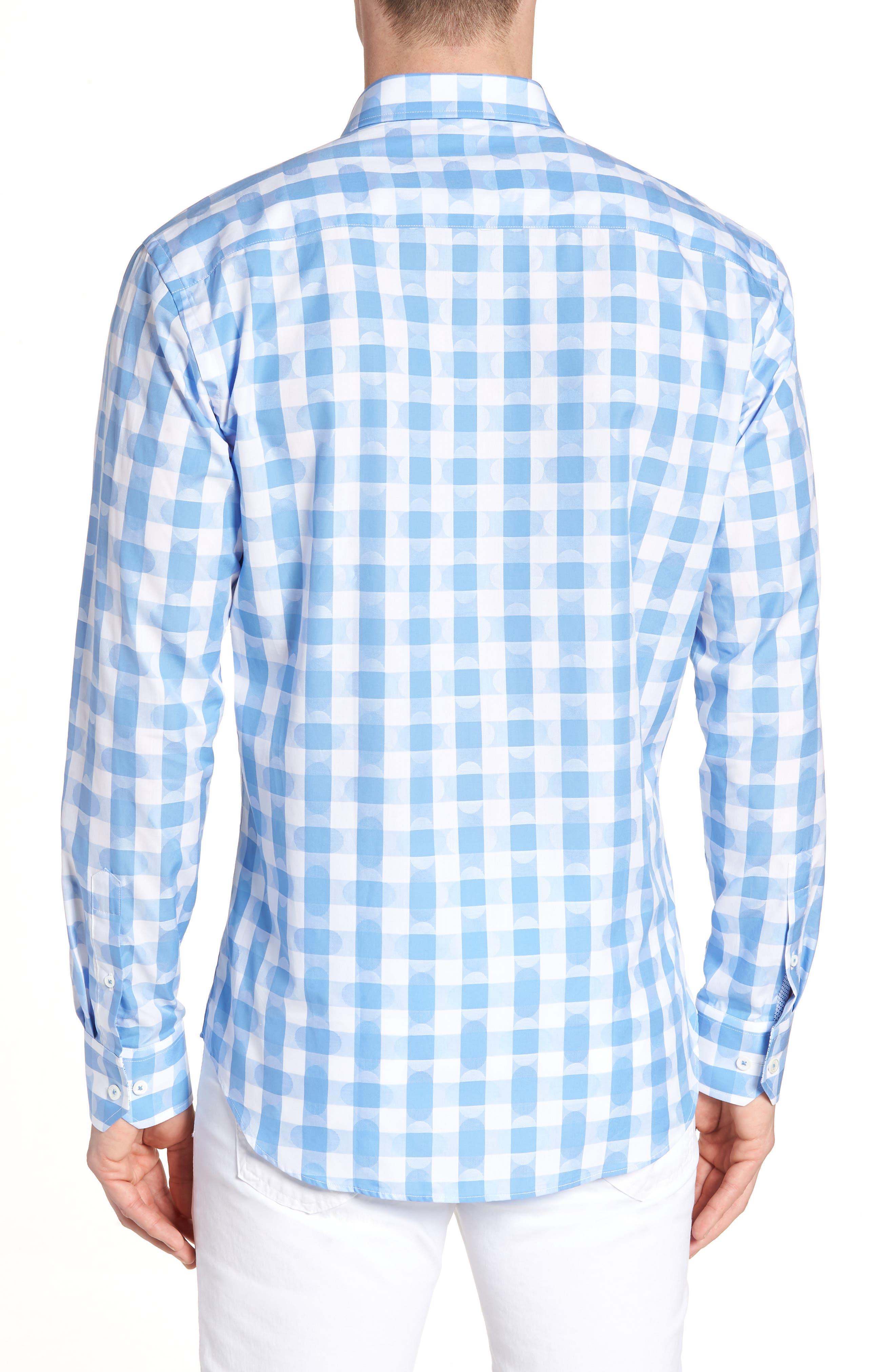 Shaped Fit Jacquard Gingham Sport Shirt,                             Alternate thumbnail 3, color,                             Classic Blue