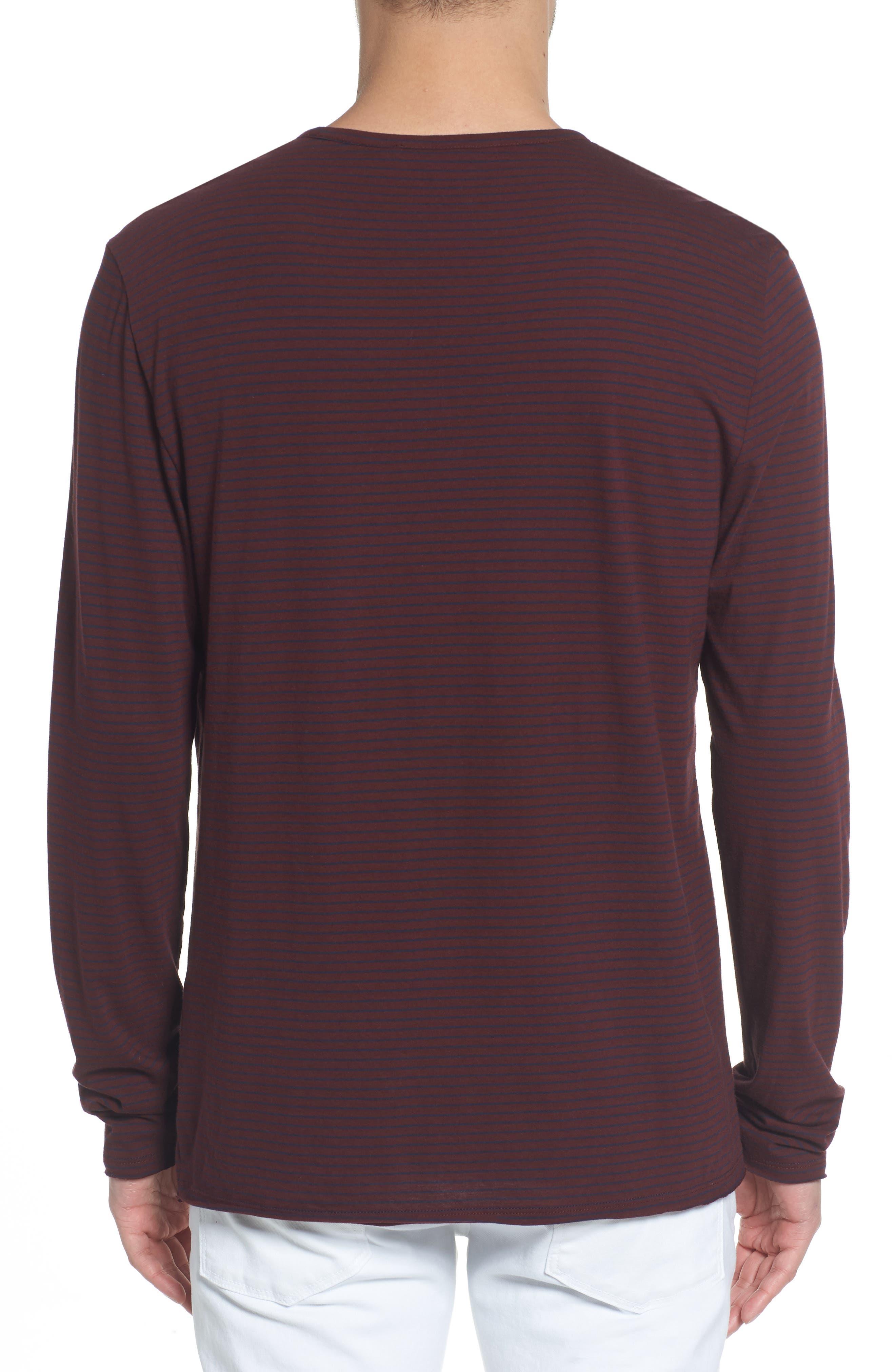 Stripe Long Sleeve Crewneck T-Shirt,                             Alternate thumbnail 2, color,                             Black Cherry/ New Coastal