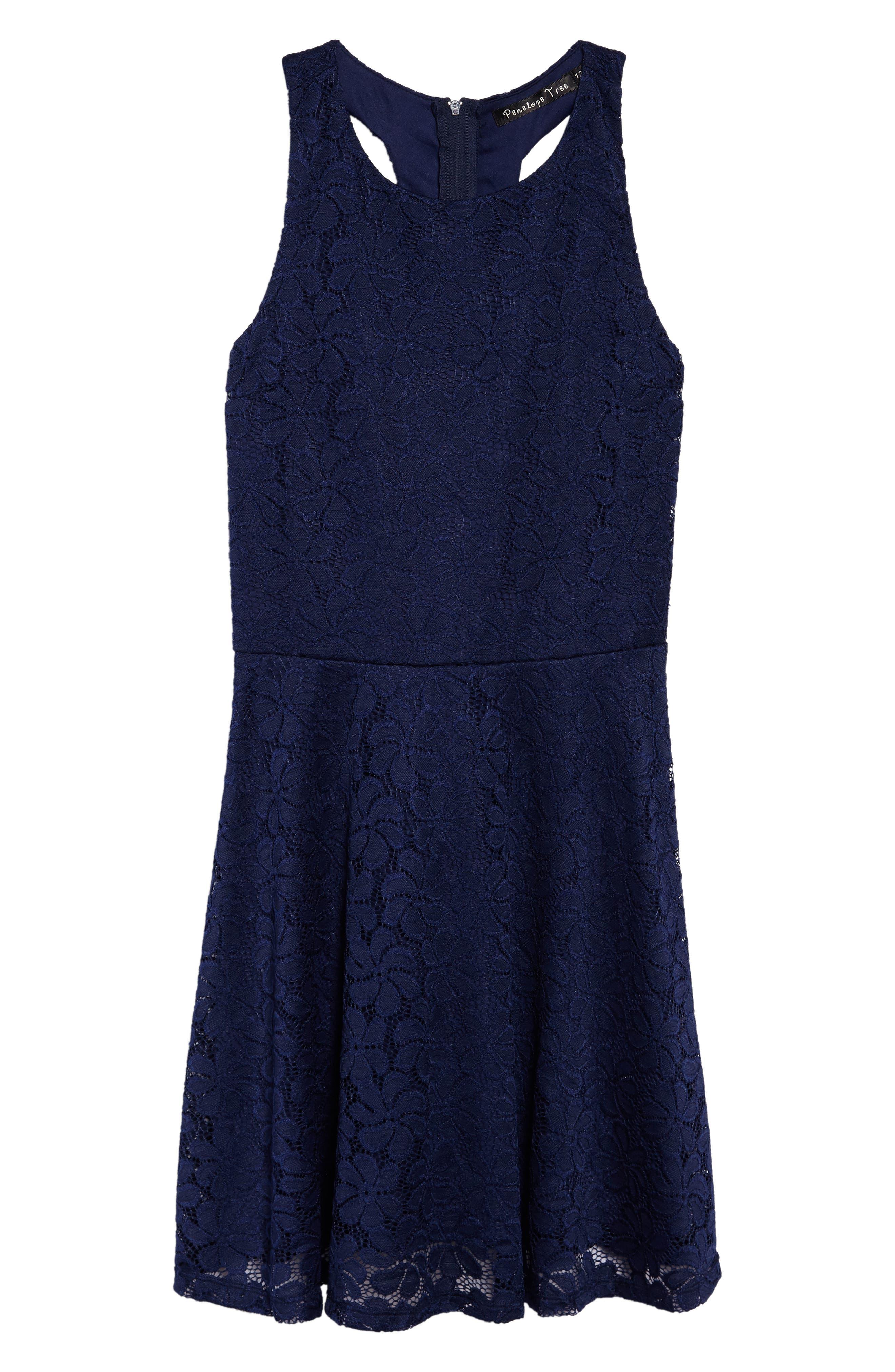 Betty Racerback Lace Dress,                             Main thumbnail 1, color,                             Navy