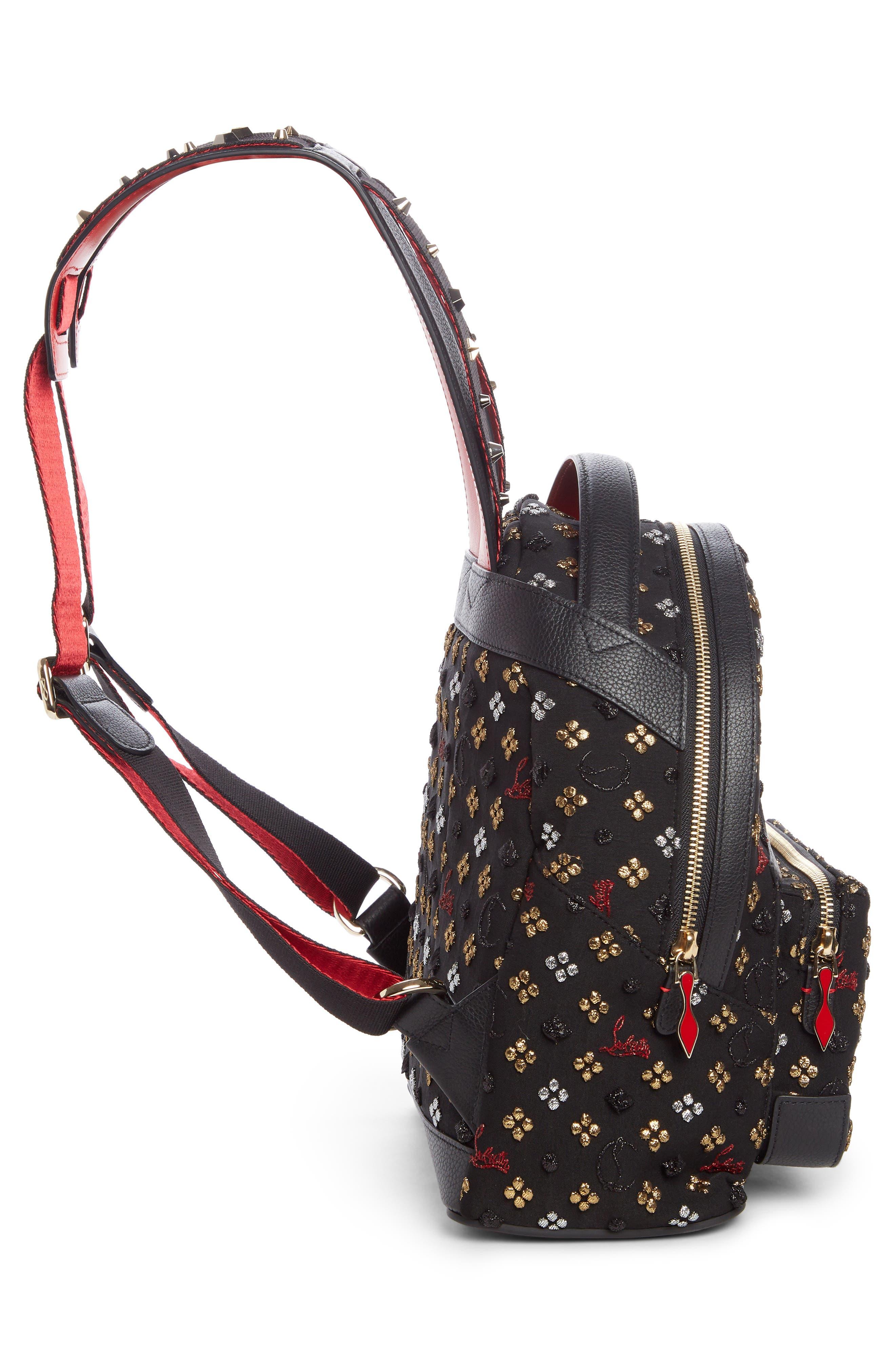 Small Backloubi Metallic Jacquard Backpack,                             Alternate thumbnail 4, color,                             Black Multi