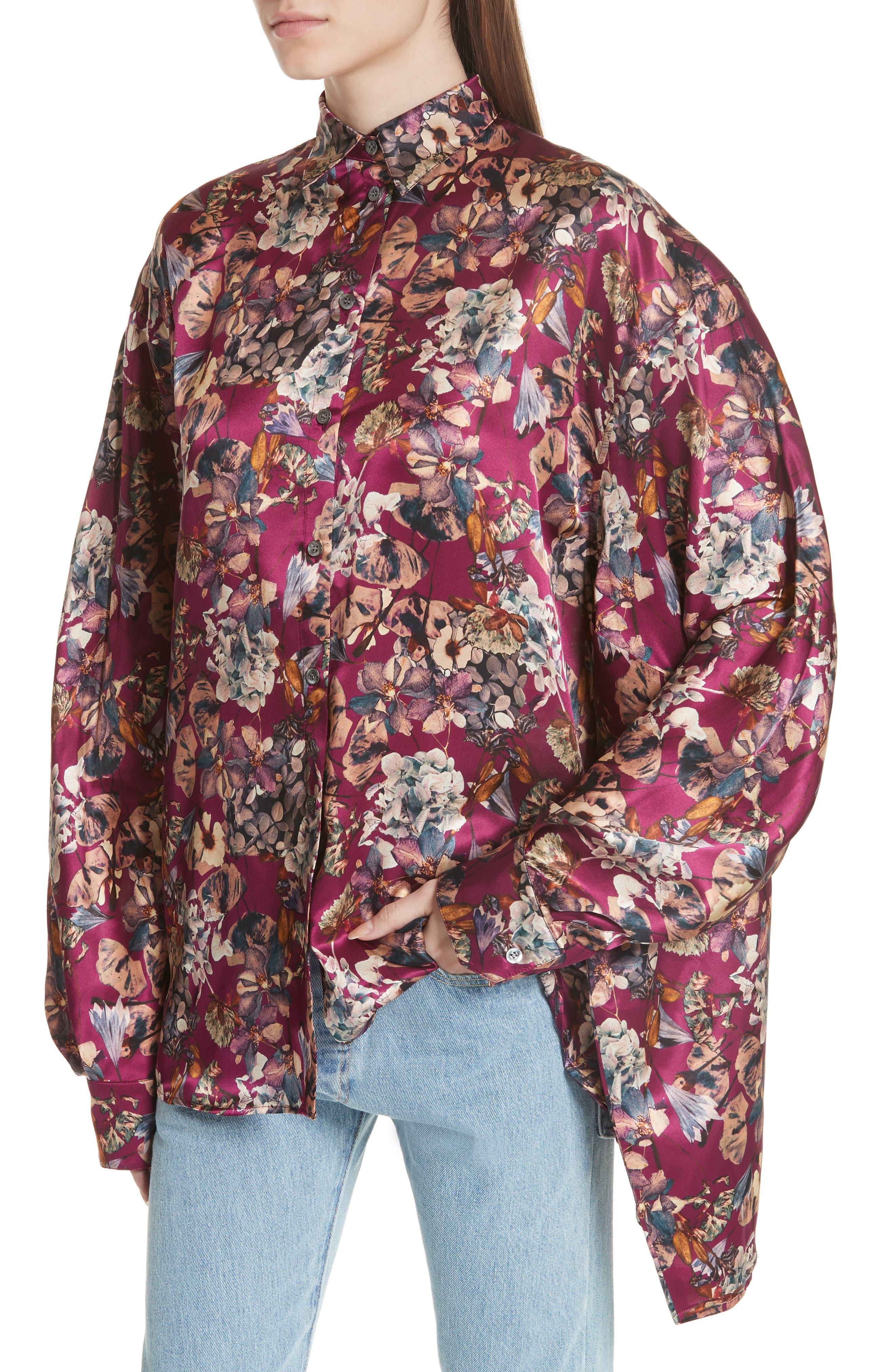 Floral Silk Blouse,                             Alternate thumbnail 5, color,                             Purple1