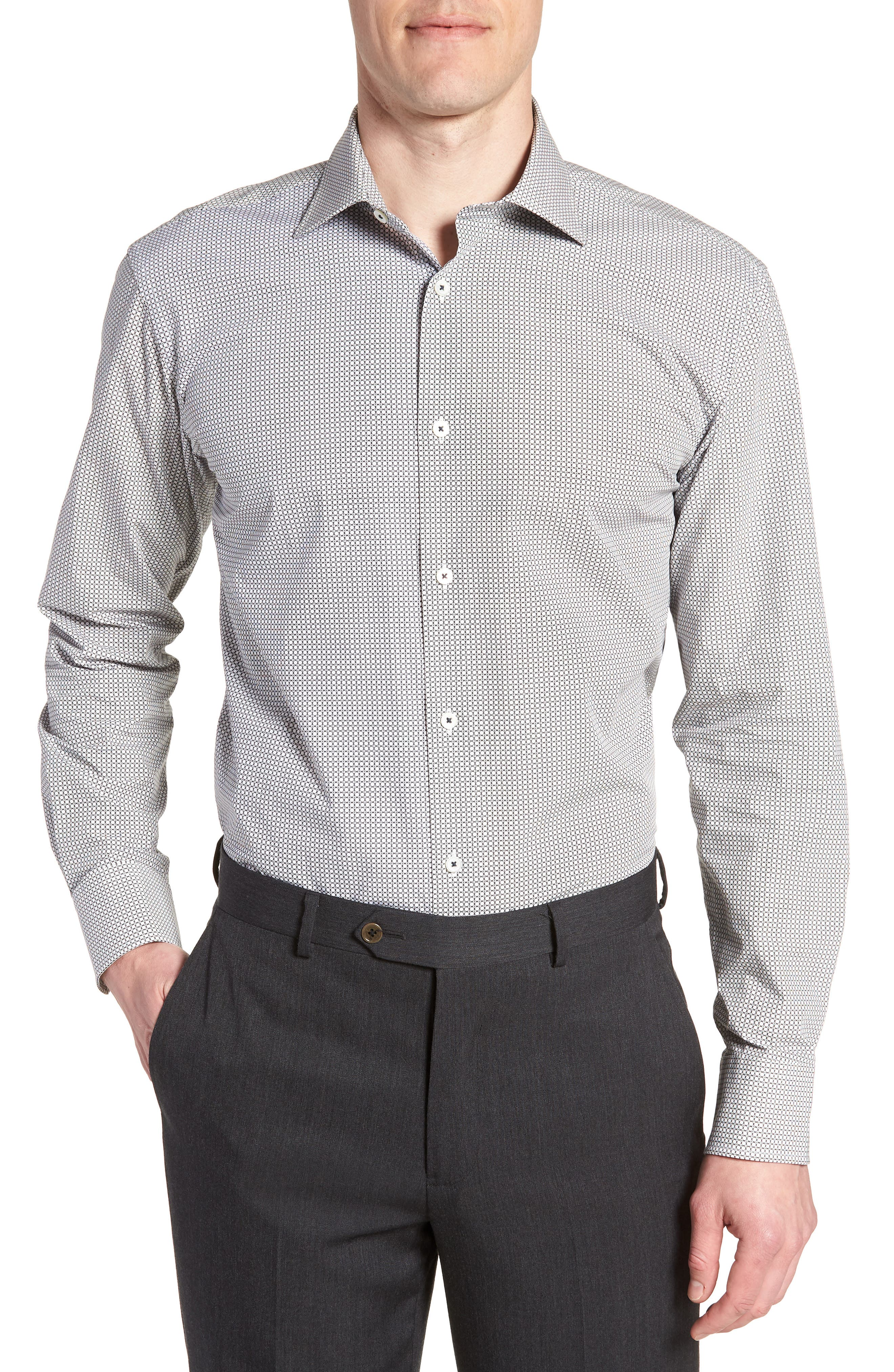 Trim Fit Print Dress Shirt,                             Main thumbnail 1, color,                             Platinum