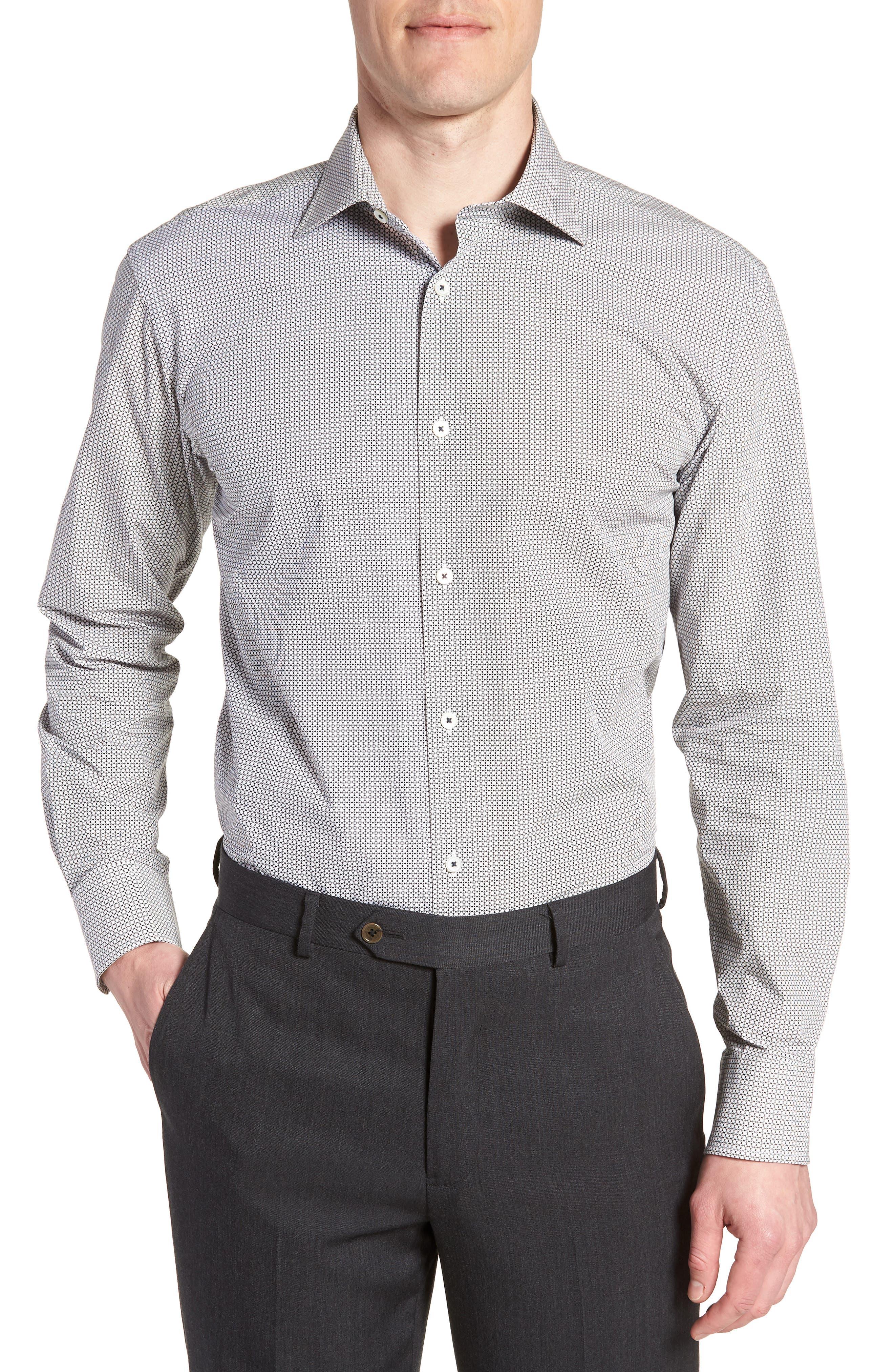 Trim Fit Print Dress Shirt,                         Main,                         color, Platinum