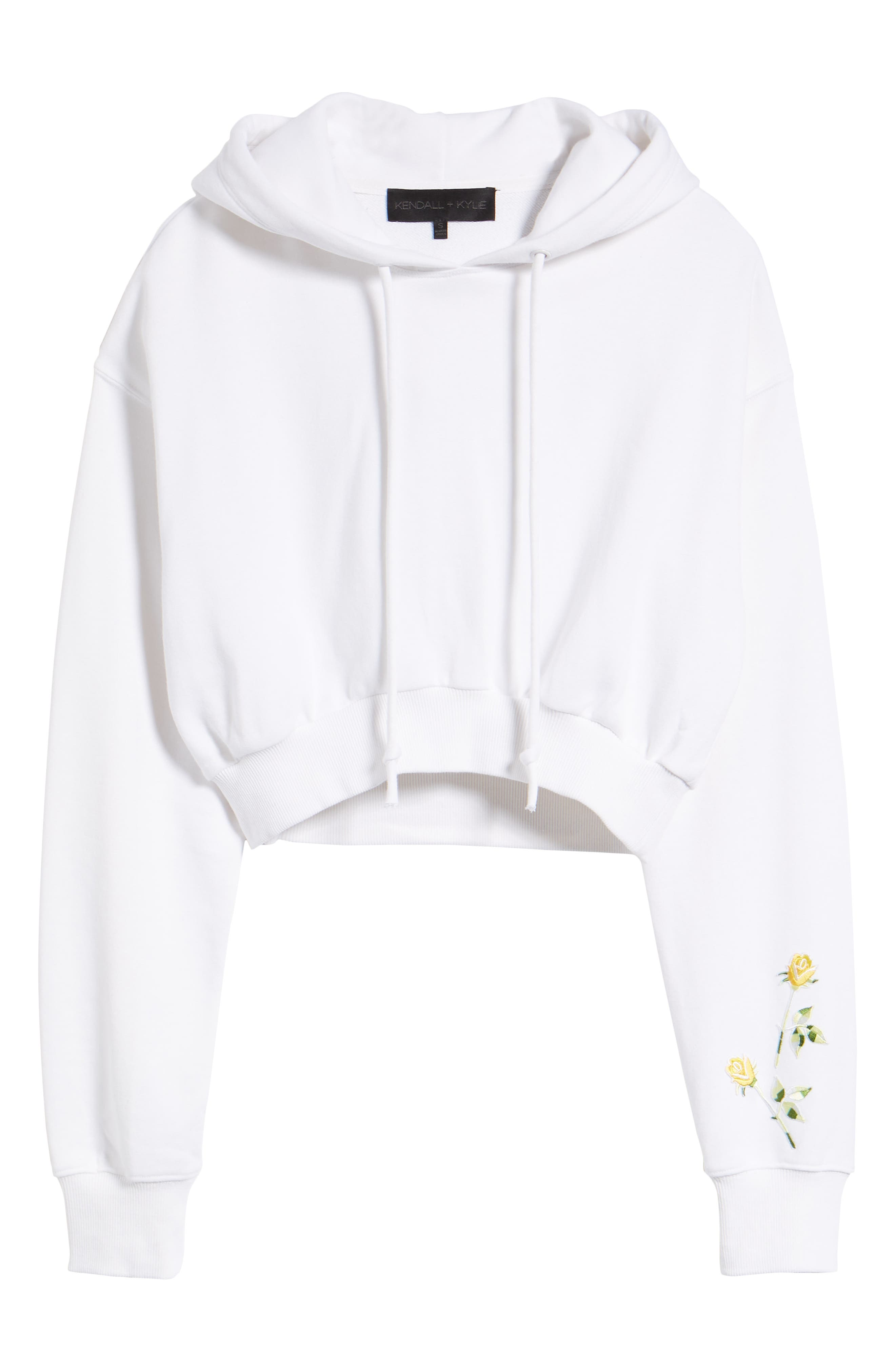 Crop Hoodie,                             Alternate thumbnail 7, color,                             Bright White