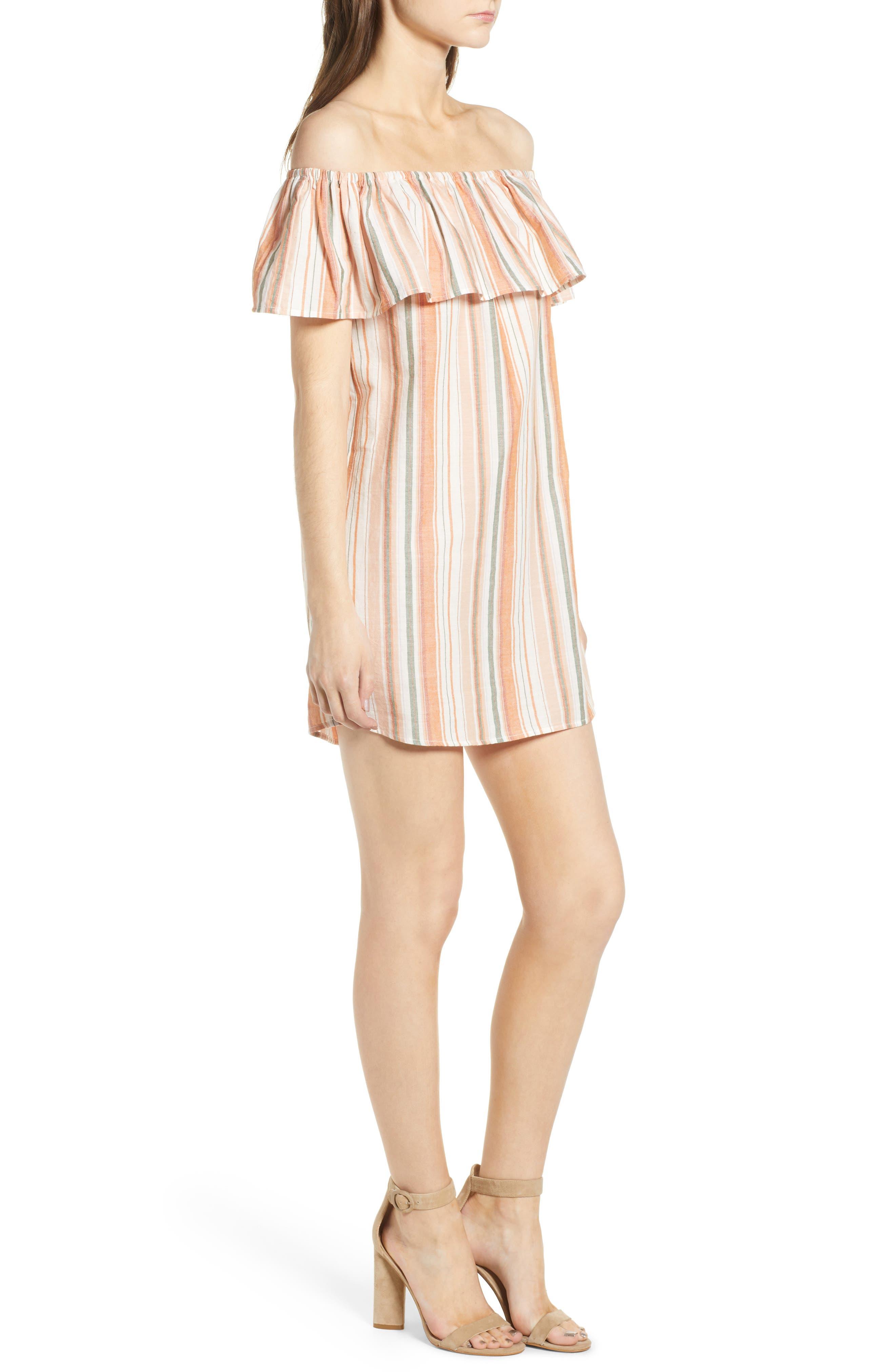 Bishop + Young Sunset Stripe Off the Shoulder Dress,                             Alternate thumbnail 3, color,                             Orange White Stripe