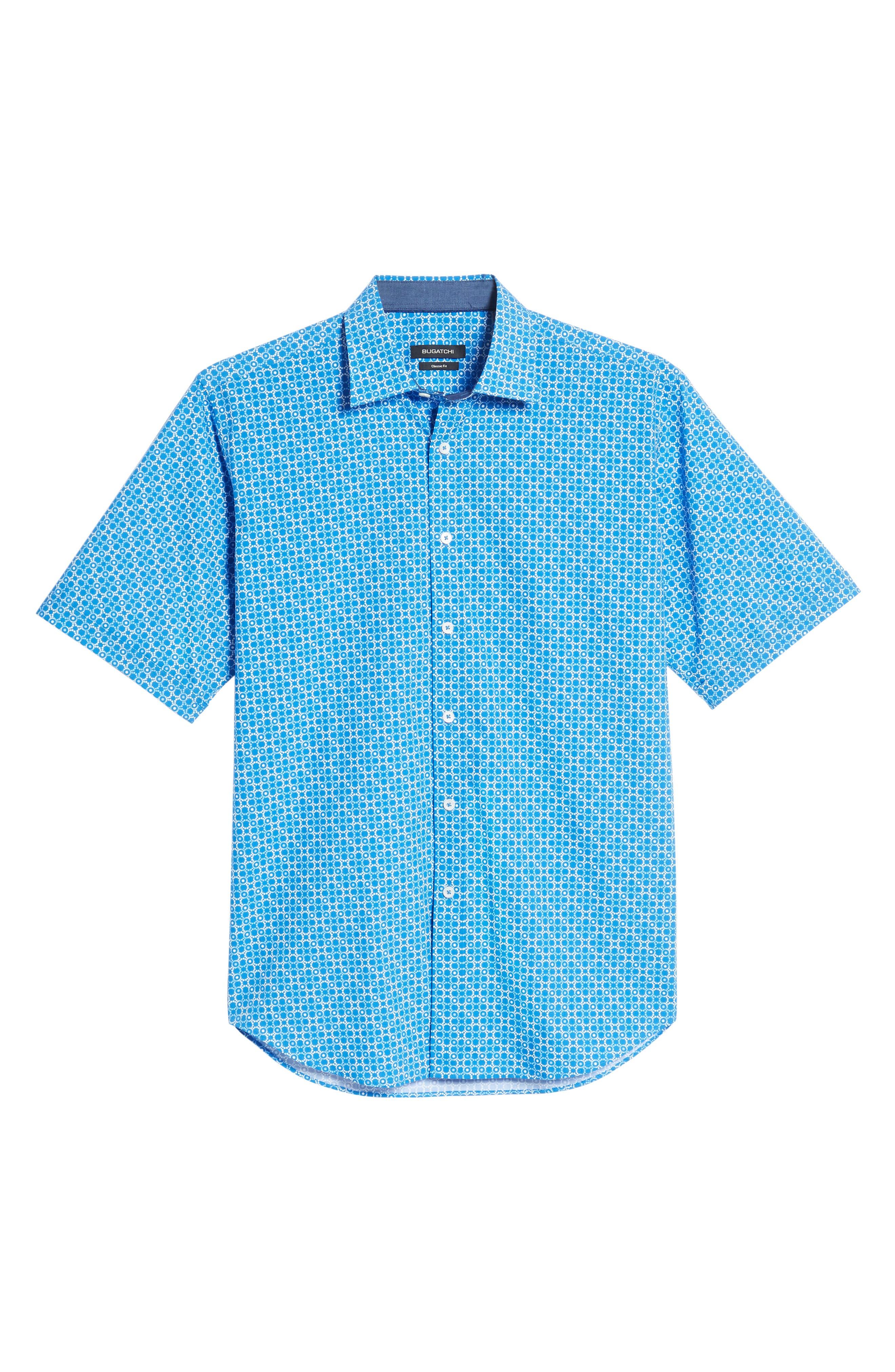 Classic Fit Circle Grid Sport Shirt,                             Alternate thumbnail 6, color,                             Classic Blue