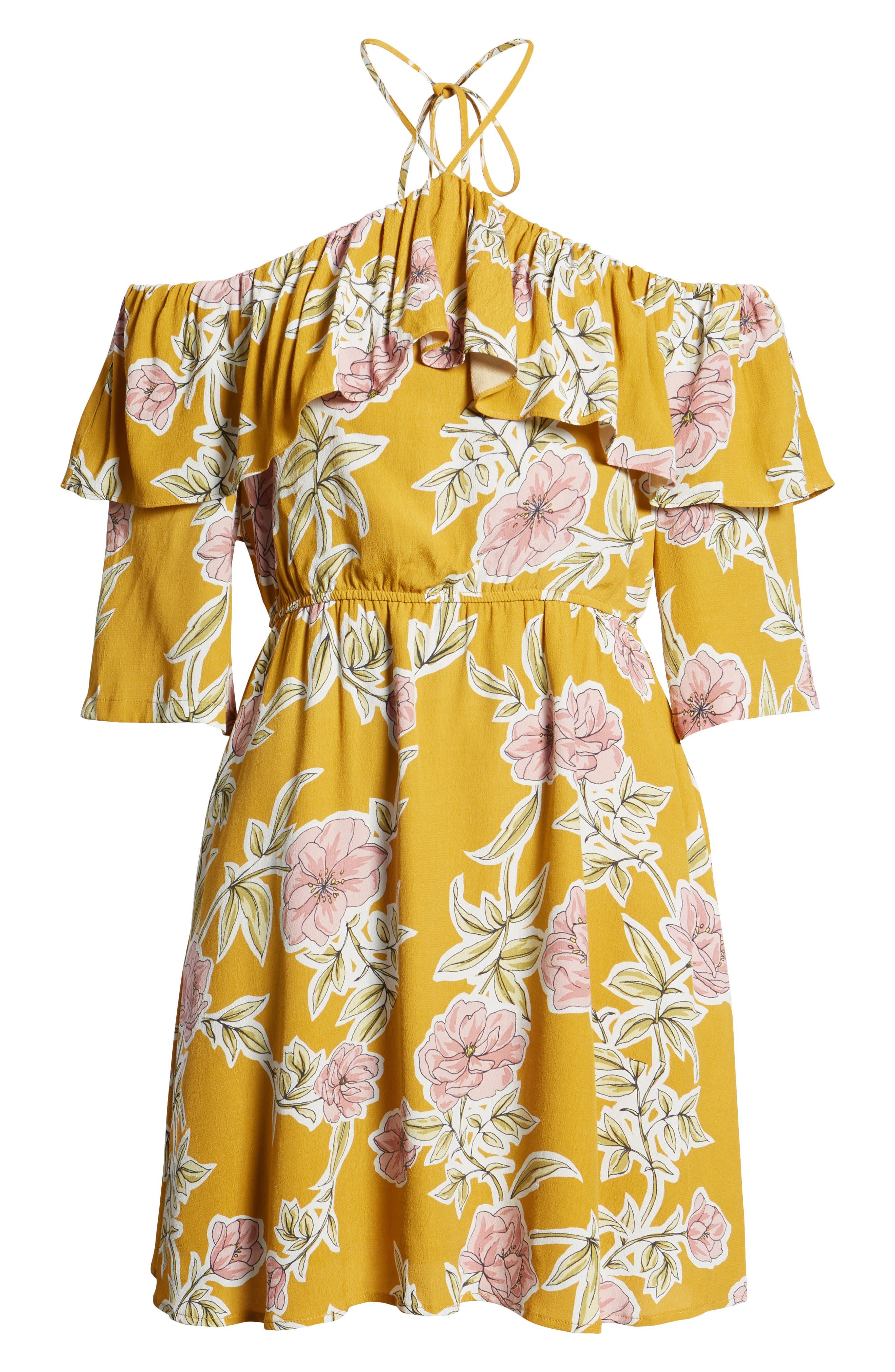 Fonda Cold Shoulder Halter Dress,                             Alternate thumbnail 7, color,                             Yellow Gold