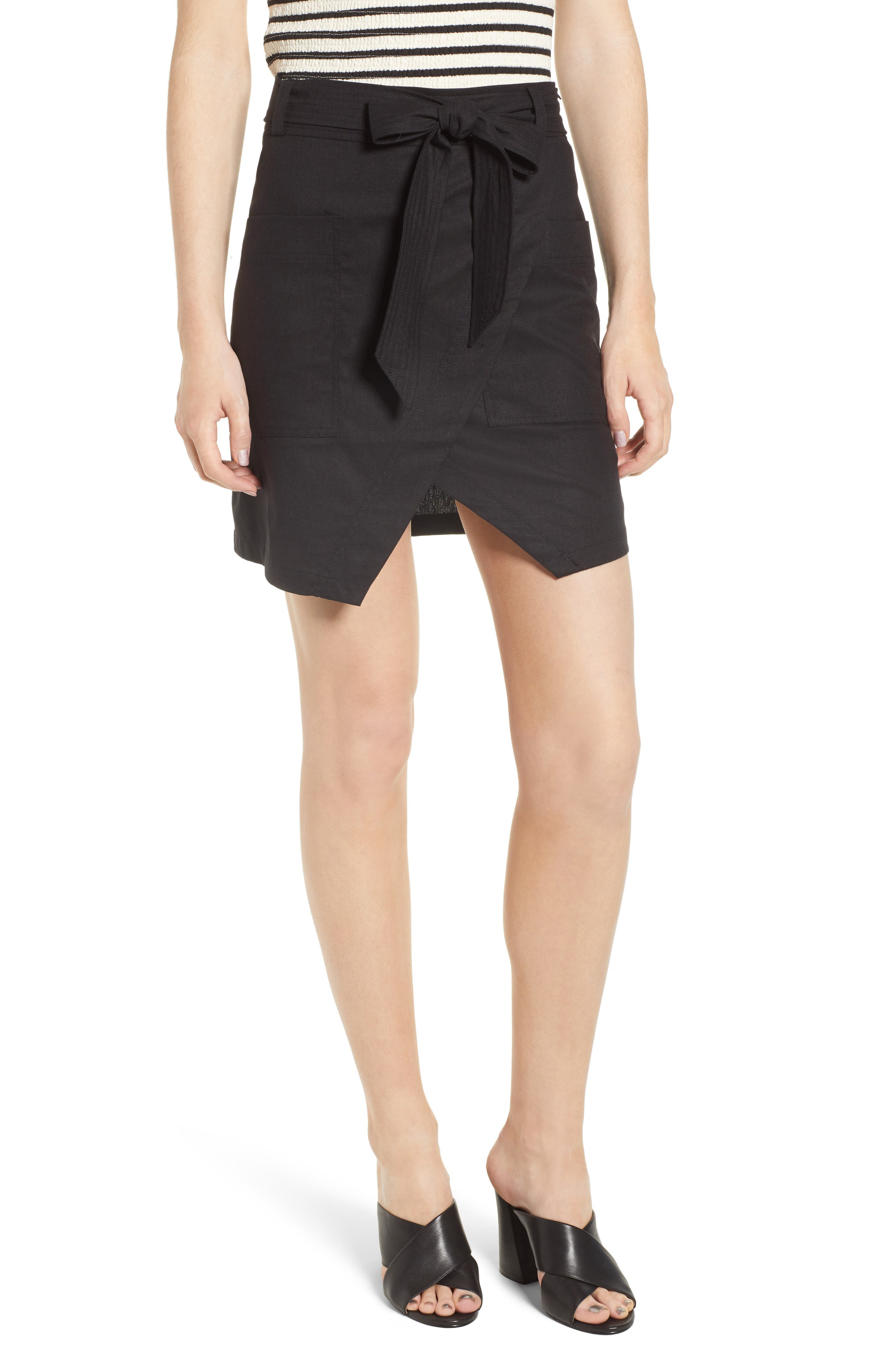 Bishop + Young Tie Front Wrap Style Skirt,                             Main thumbnail 1, color,                             Black